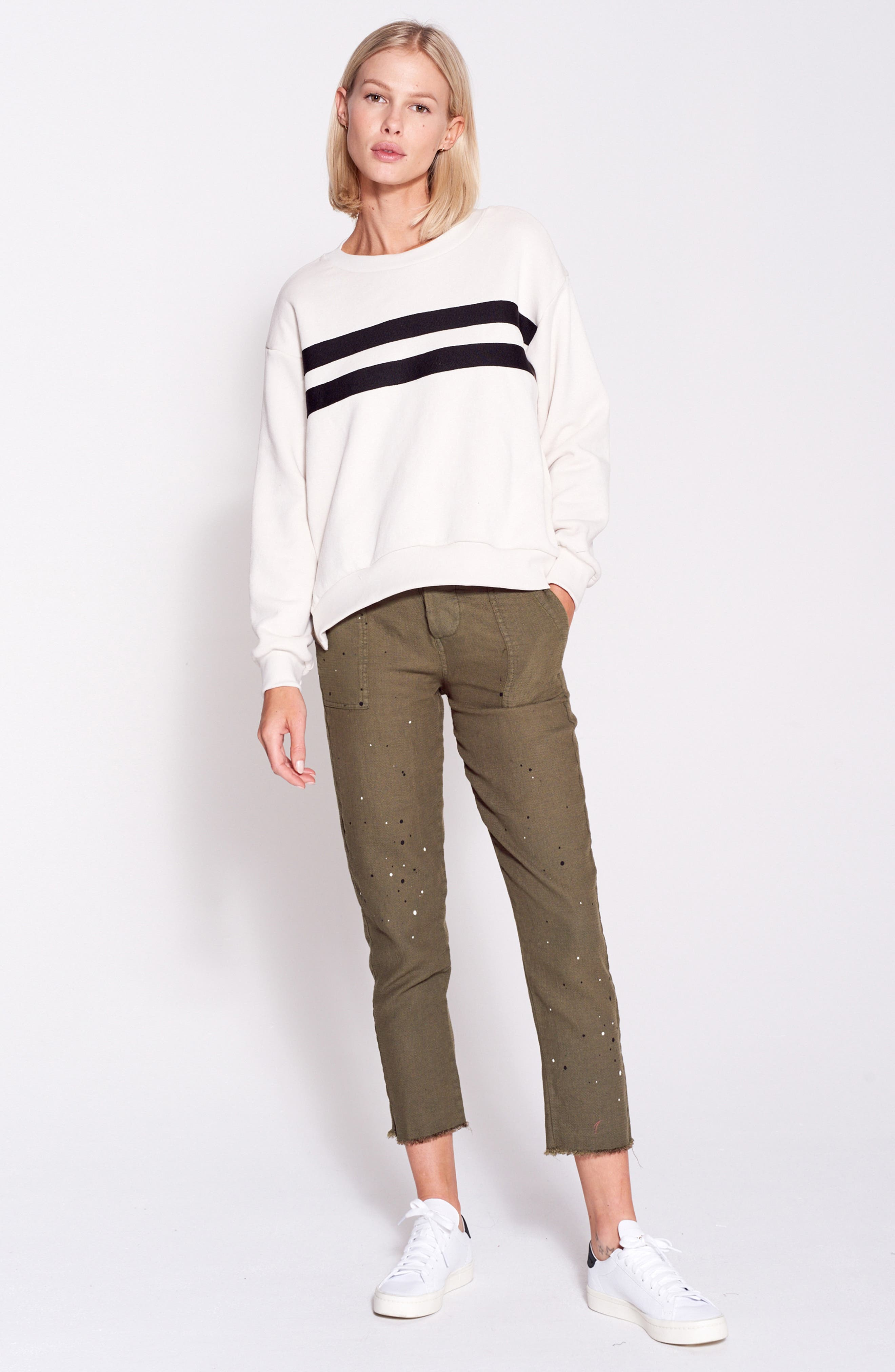 Side Zip Stripe Pullover,                             Alternate thumbnail 7, color,                             100