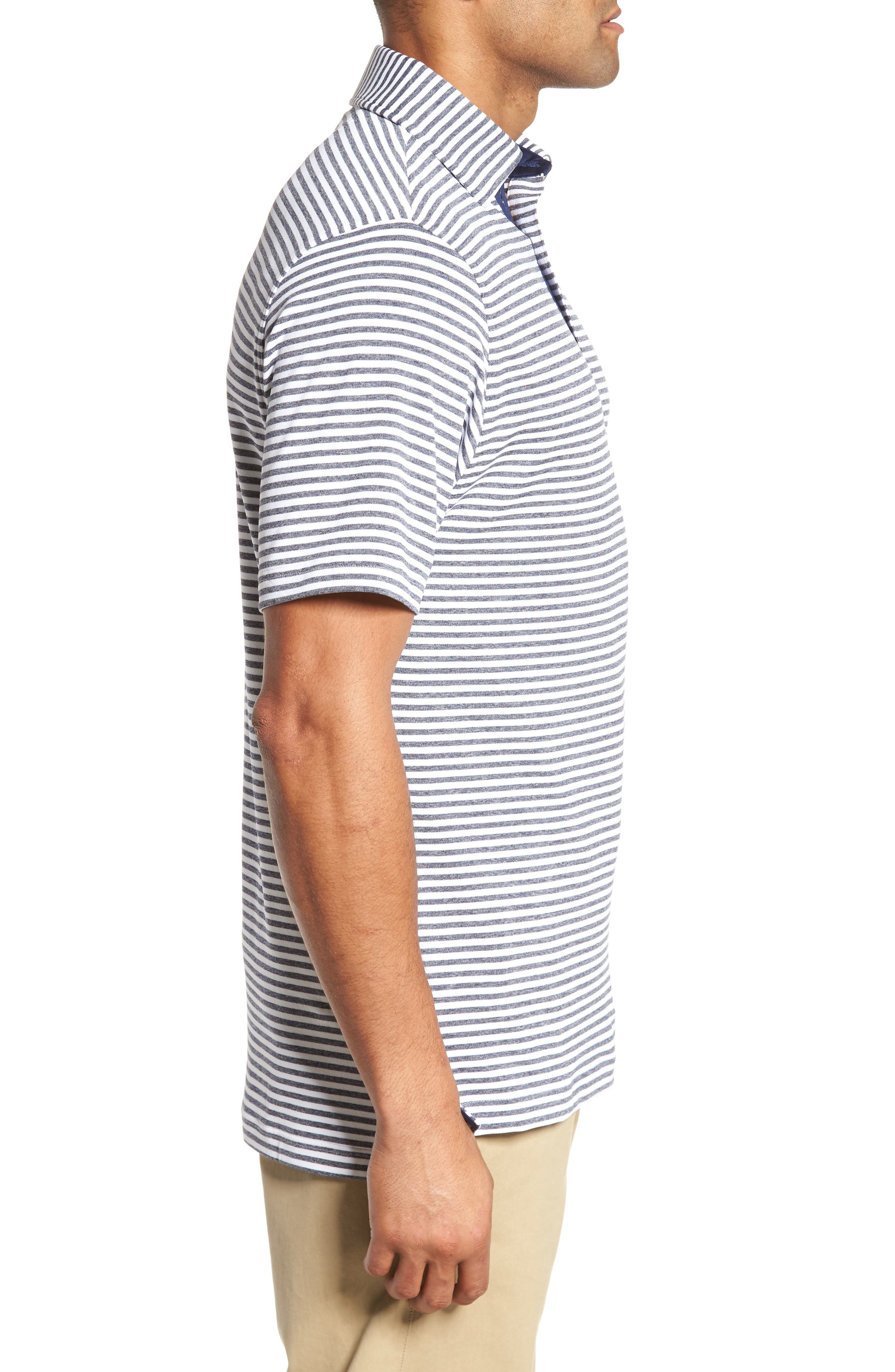 XH2O Tranquil Stripe Jersey Polo,                             Alternate thumbnail 3, color,                             100