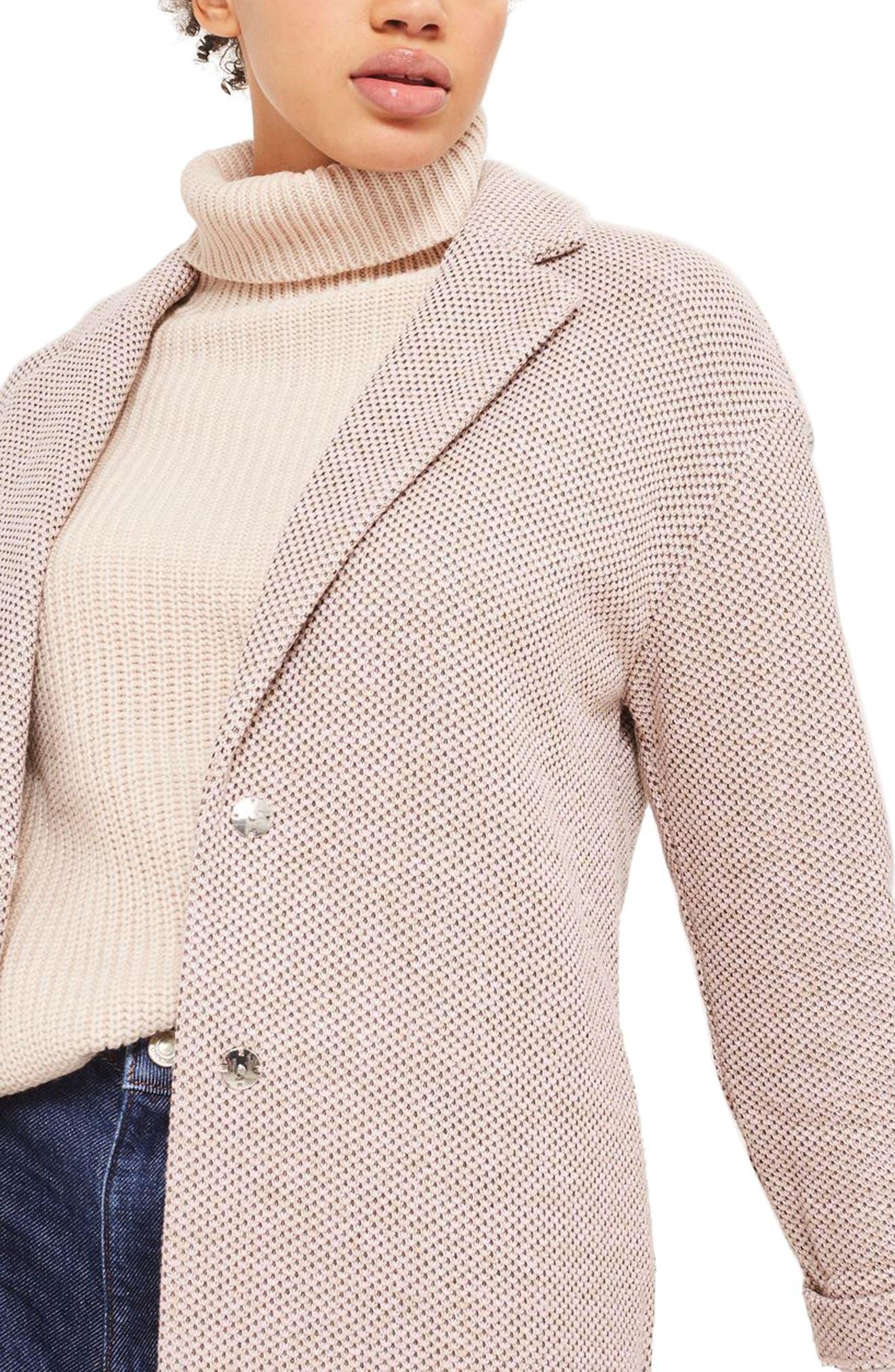 Textured Knit Coat,                             Alternate thumbnail 3, color,                             250