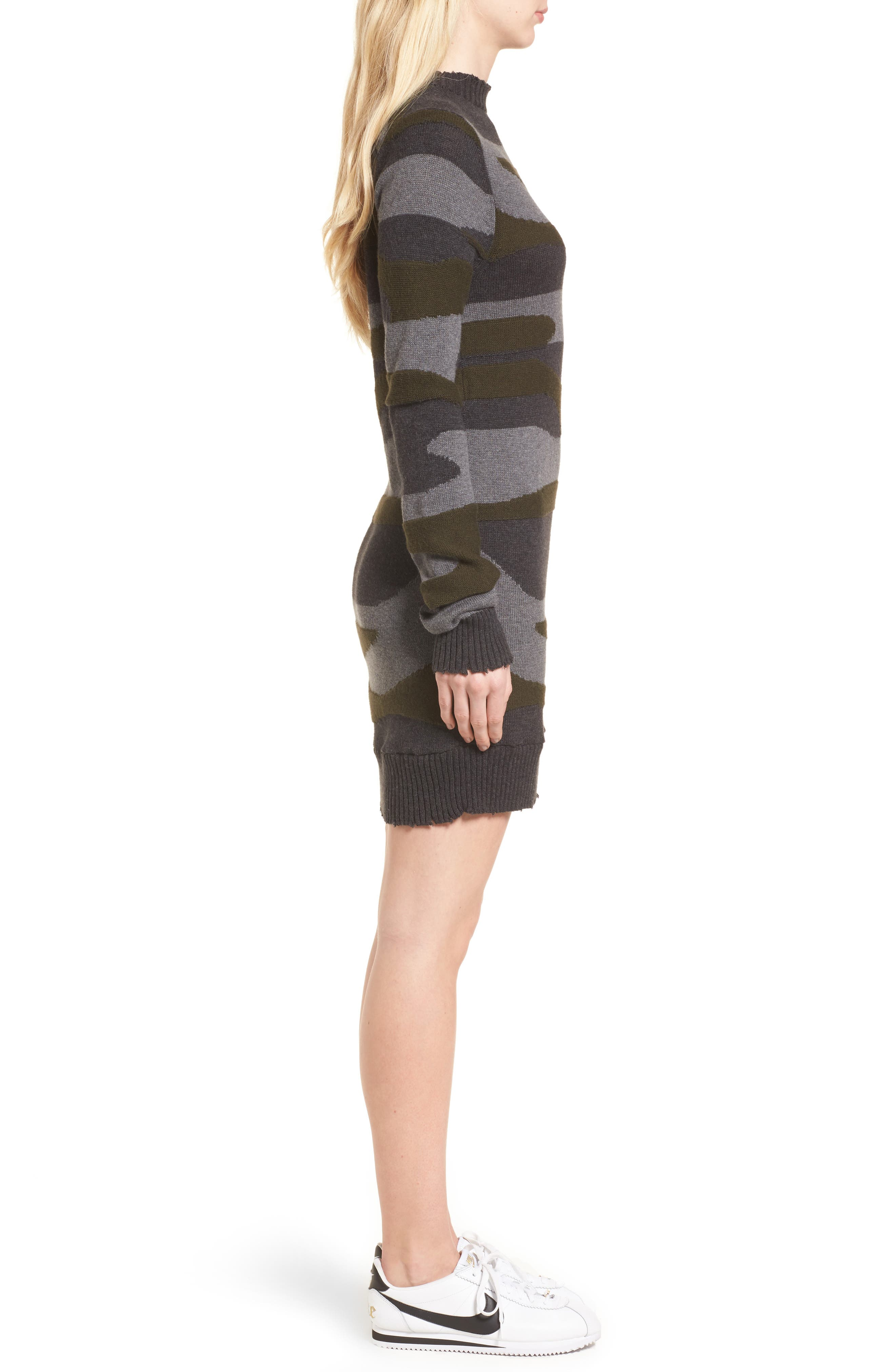 Camo Sweater Dress,                             Alternate thumbnail 3, color,                             313