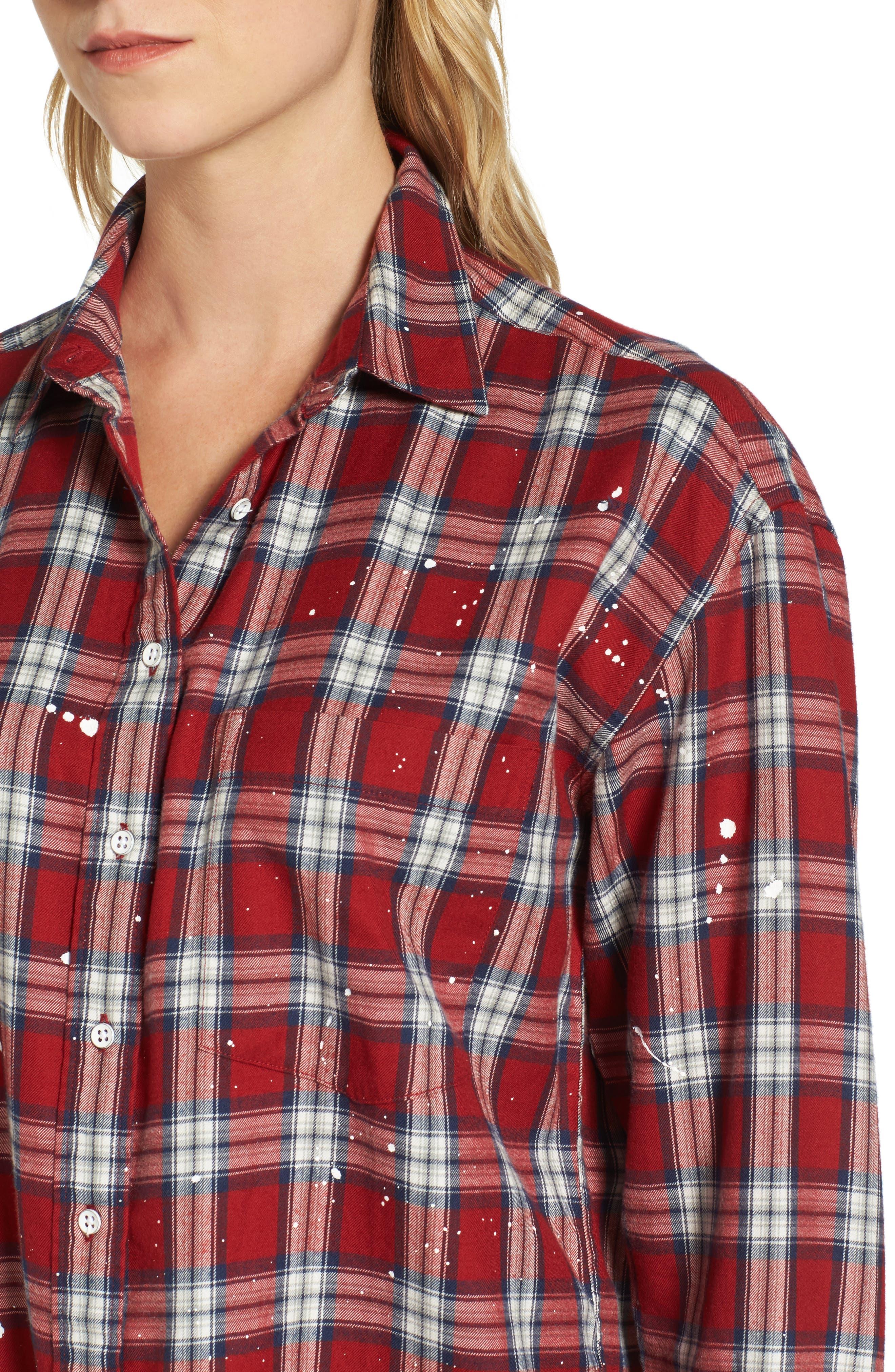 Rivington & Essex Plaid Shirtdress,                             Alternate thumbnail 4, color,                             609