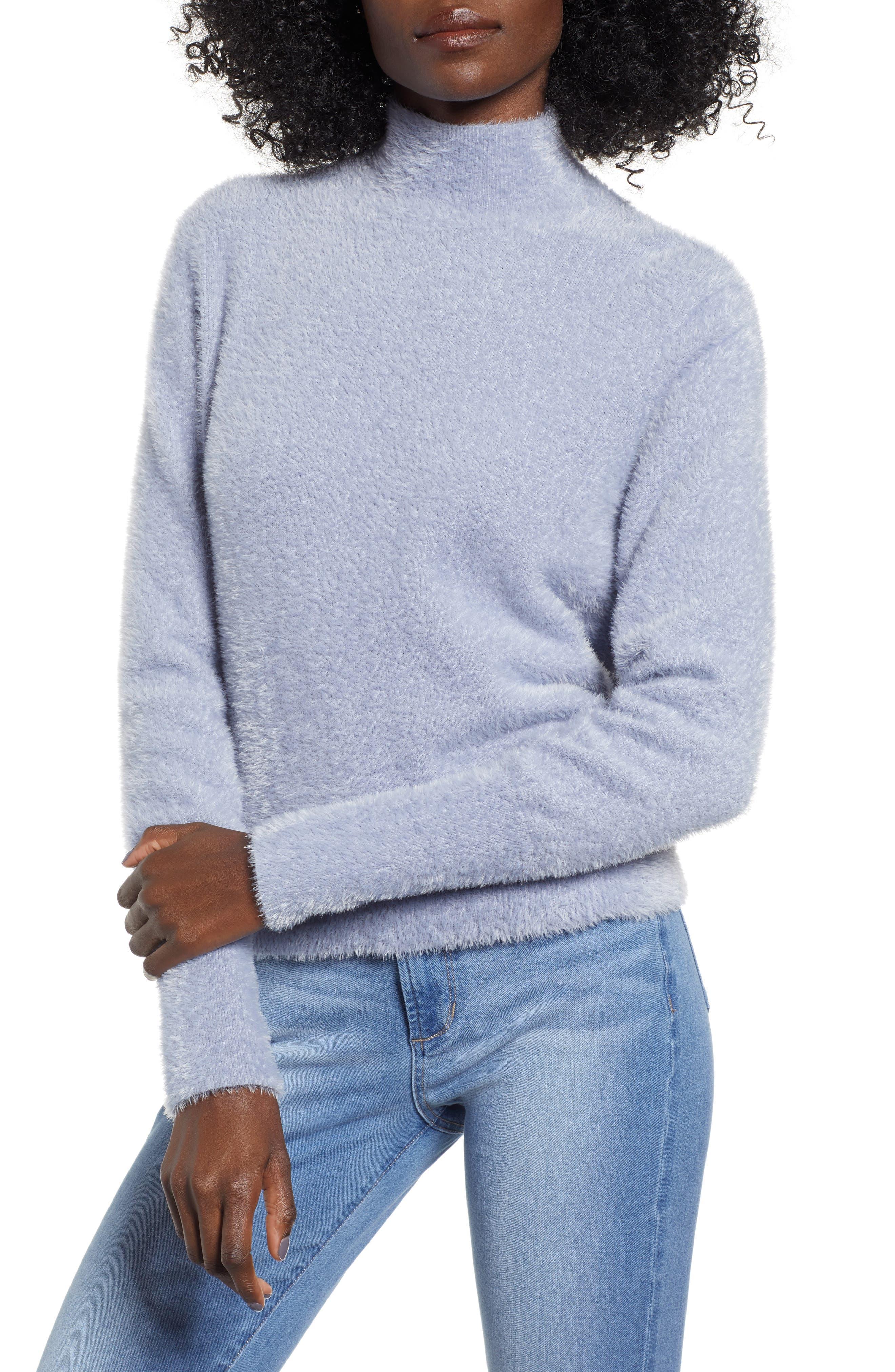 Eyelash Knit Pullover,                             Main thumbnail 1, color,                             GREY LILAC