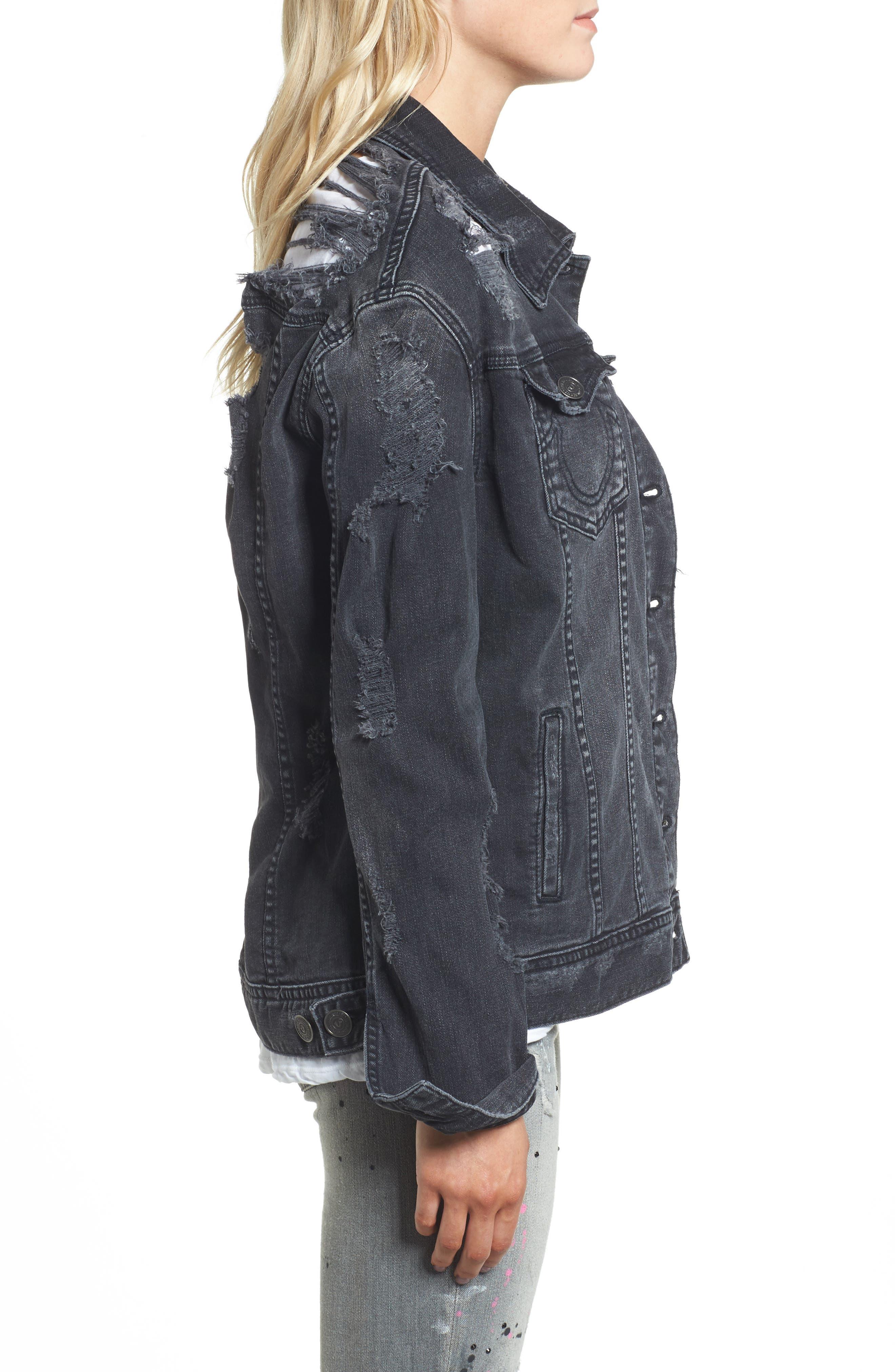 True Religion Danni Destroyed Denim Jacket,                             Alternate thumbnail 3, color,