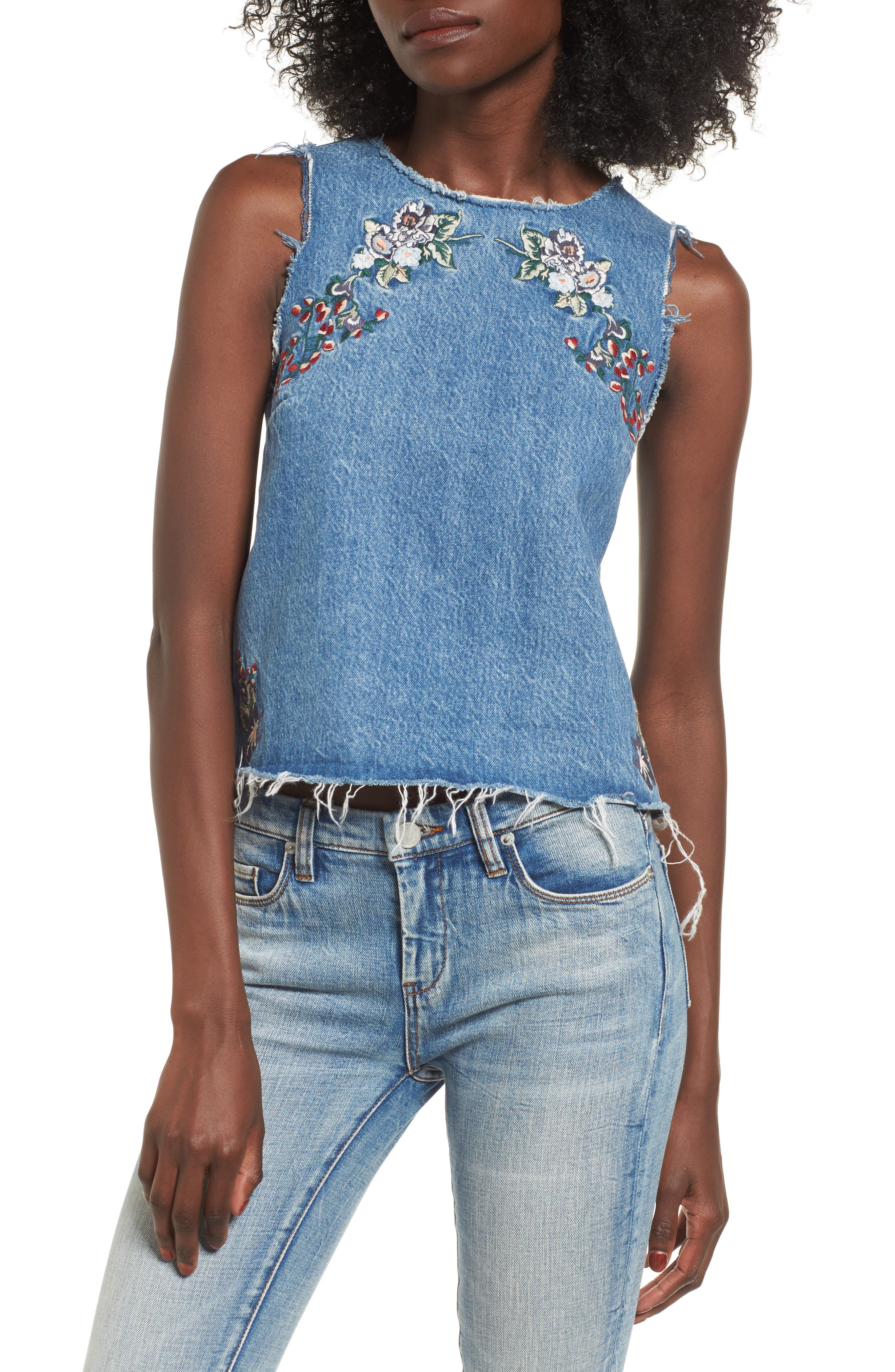 Scarlett Embroidered Denim Tank Top,                             Main thumbnail 1, color,