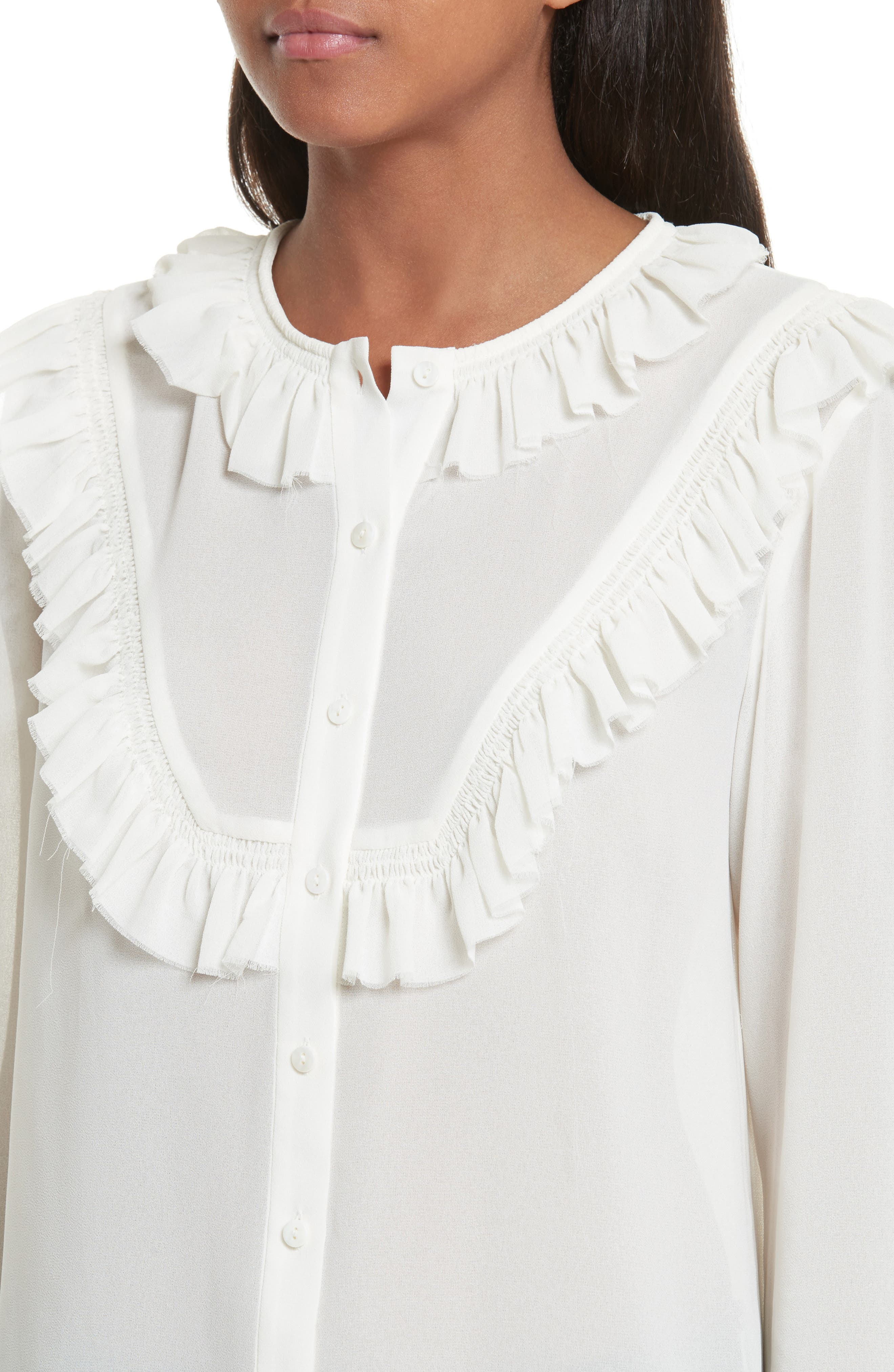 Pleated Ruffle Shirt,                             Alternate thumbnail 4, color,                             900