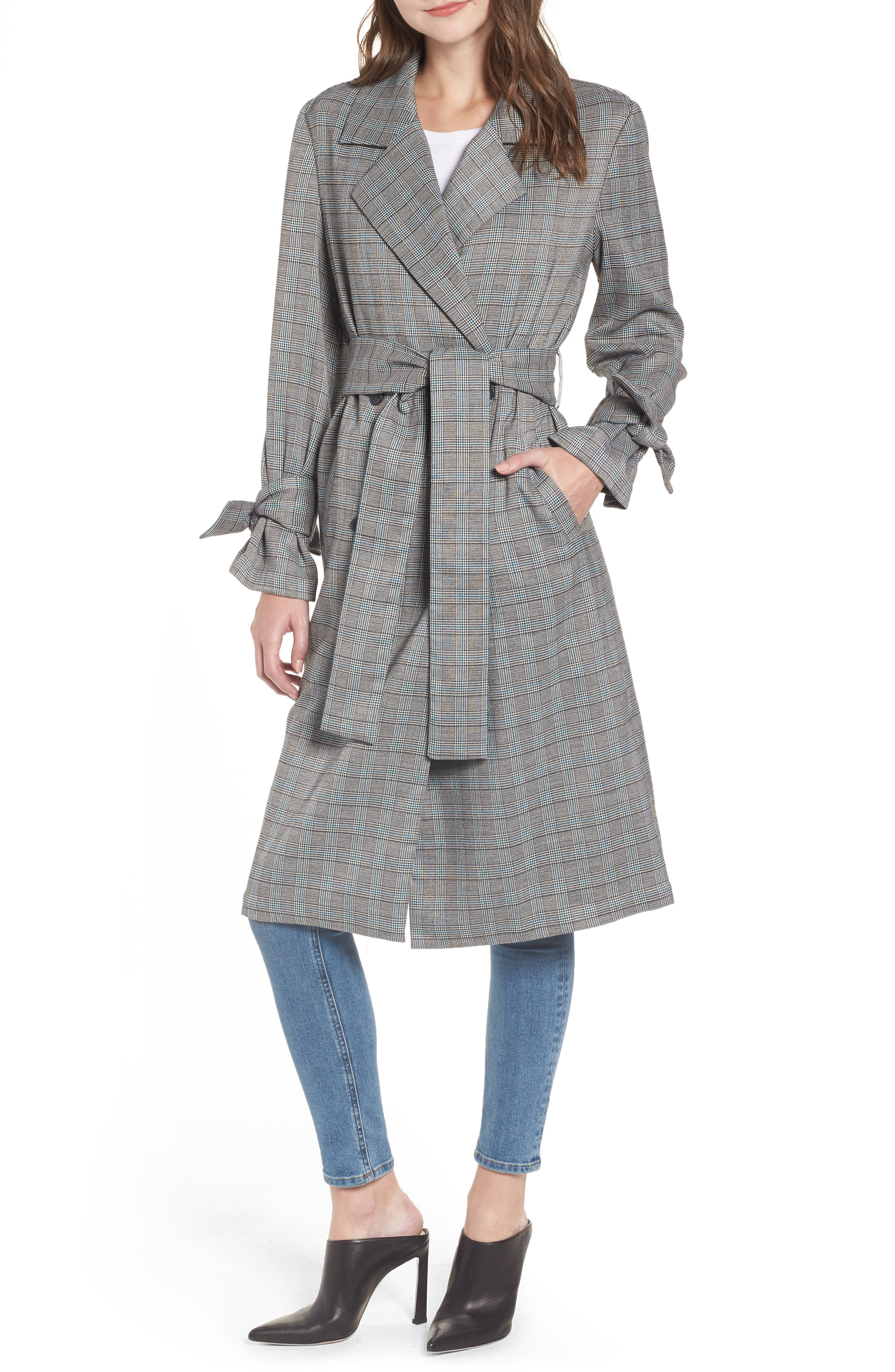 Belted Trench Coat,                             Main thumbnail 1, color,                             TEAL CASEY PLAID