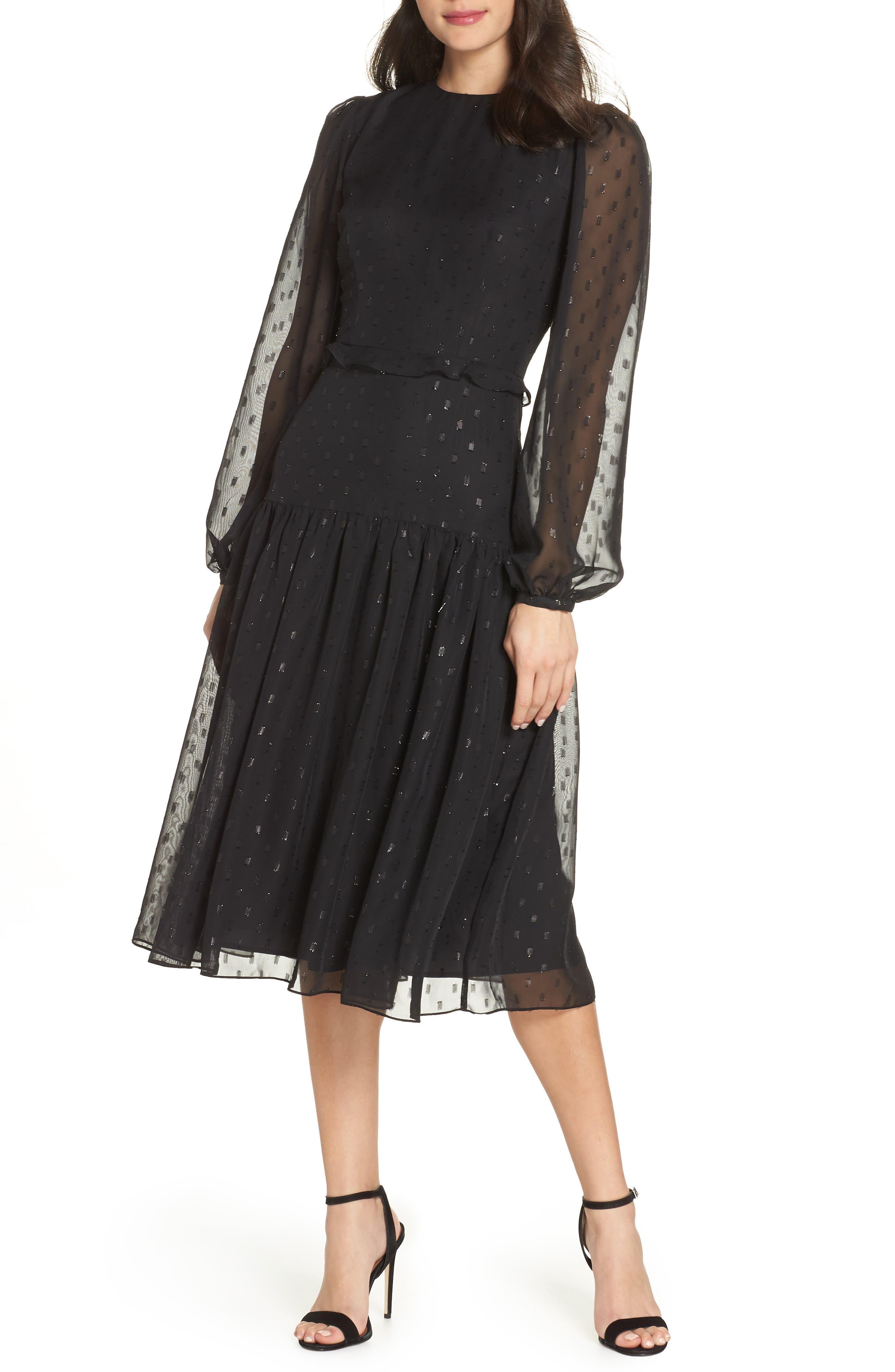 Fil Coupé Midi Dress,                             Main thumbnail 1, color,                             BLACK