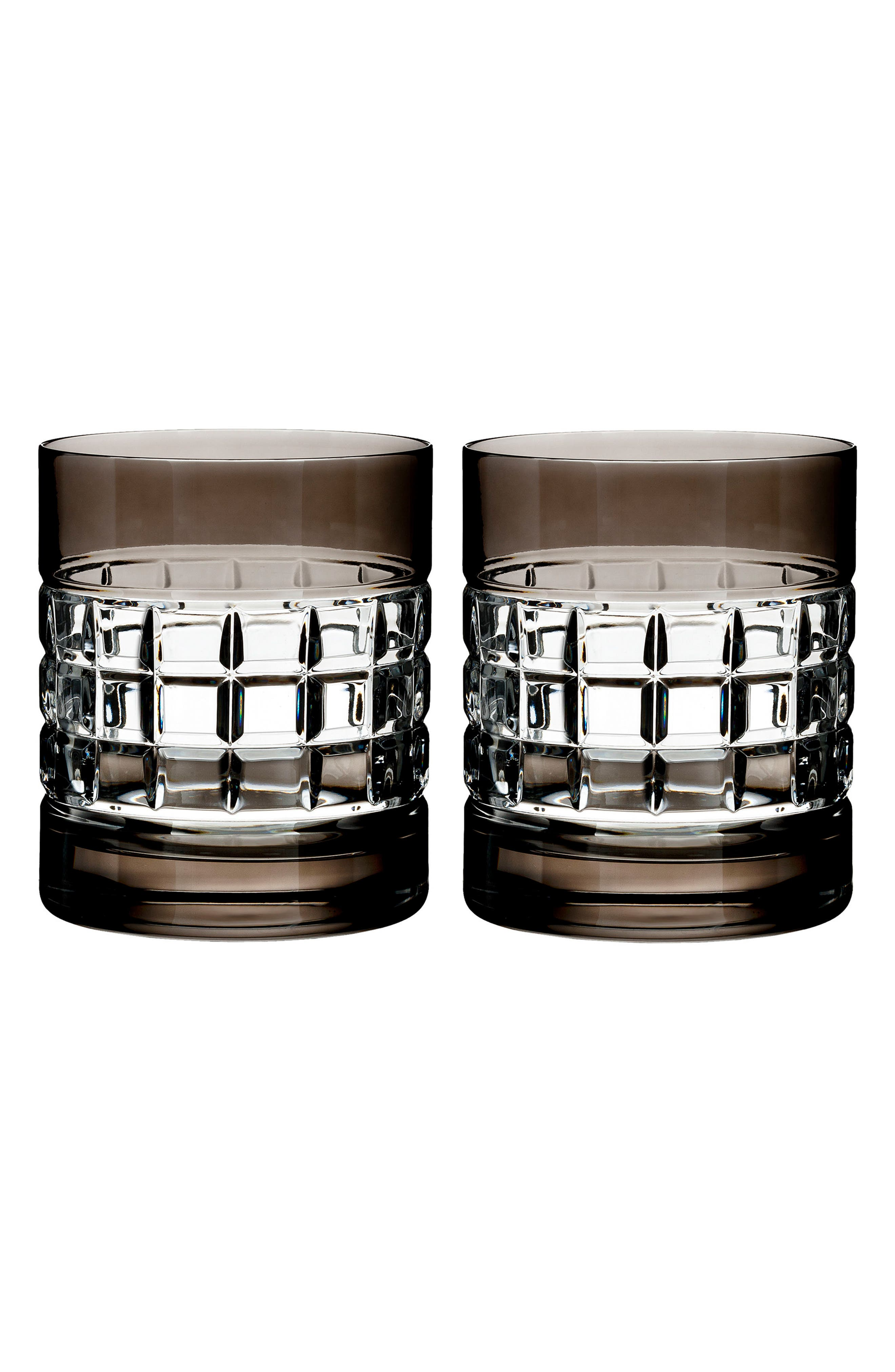 London Set of 2 Smoke Lead Crystal Double Old Fashioned Glasses,                         Main,                         color,