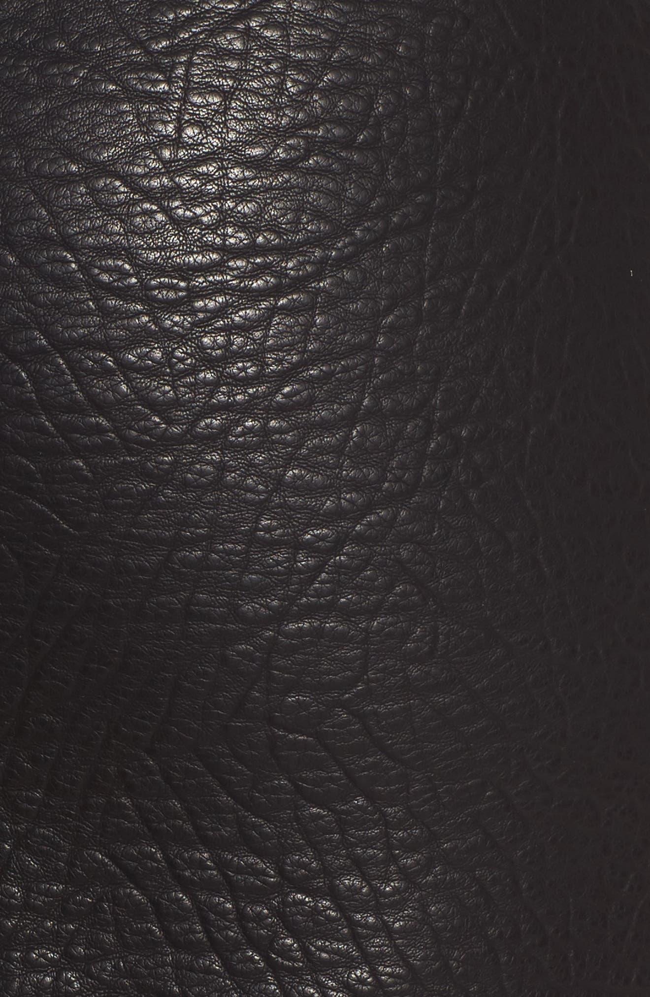 Faux Leather Moto Skirt,                             Alternate thumbnail 5, color,                             001