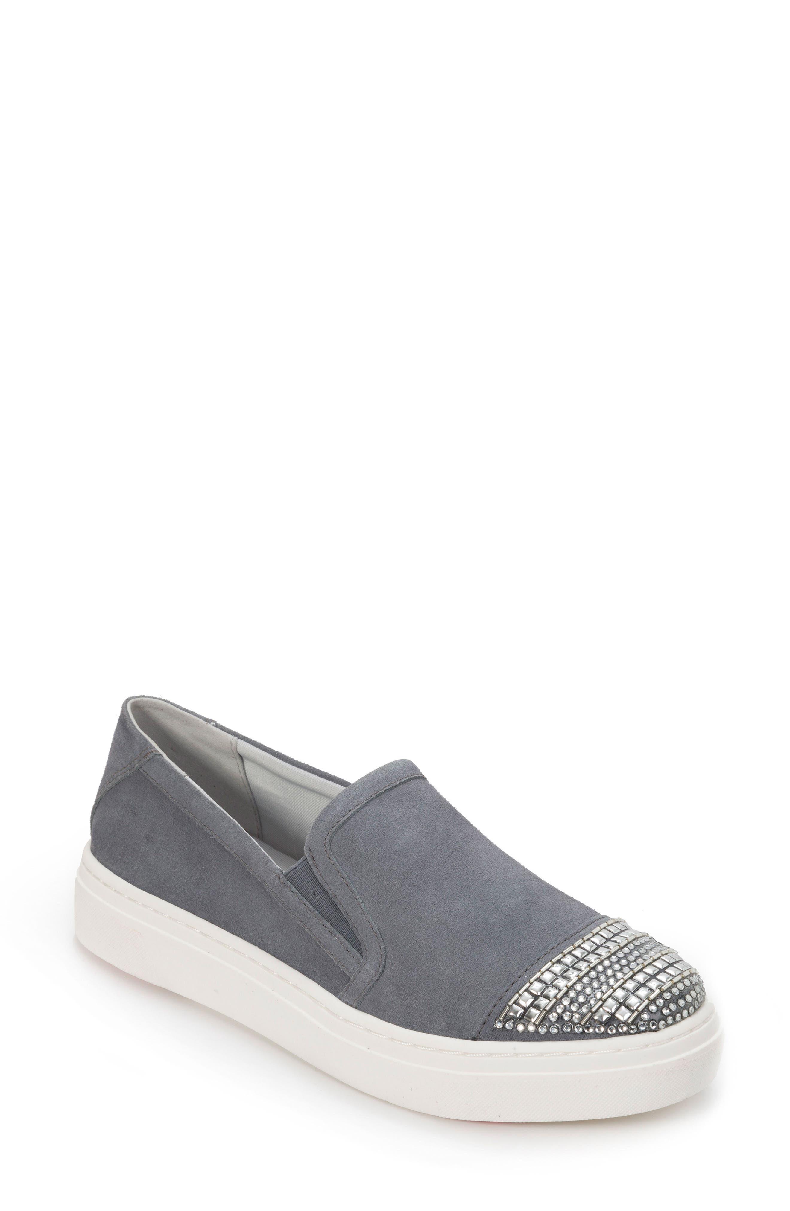Finley Slip-On Sneaker,                             Main thumbnail 1, color,                             DENIM BLUE SUEDE