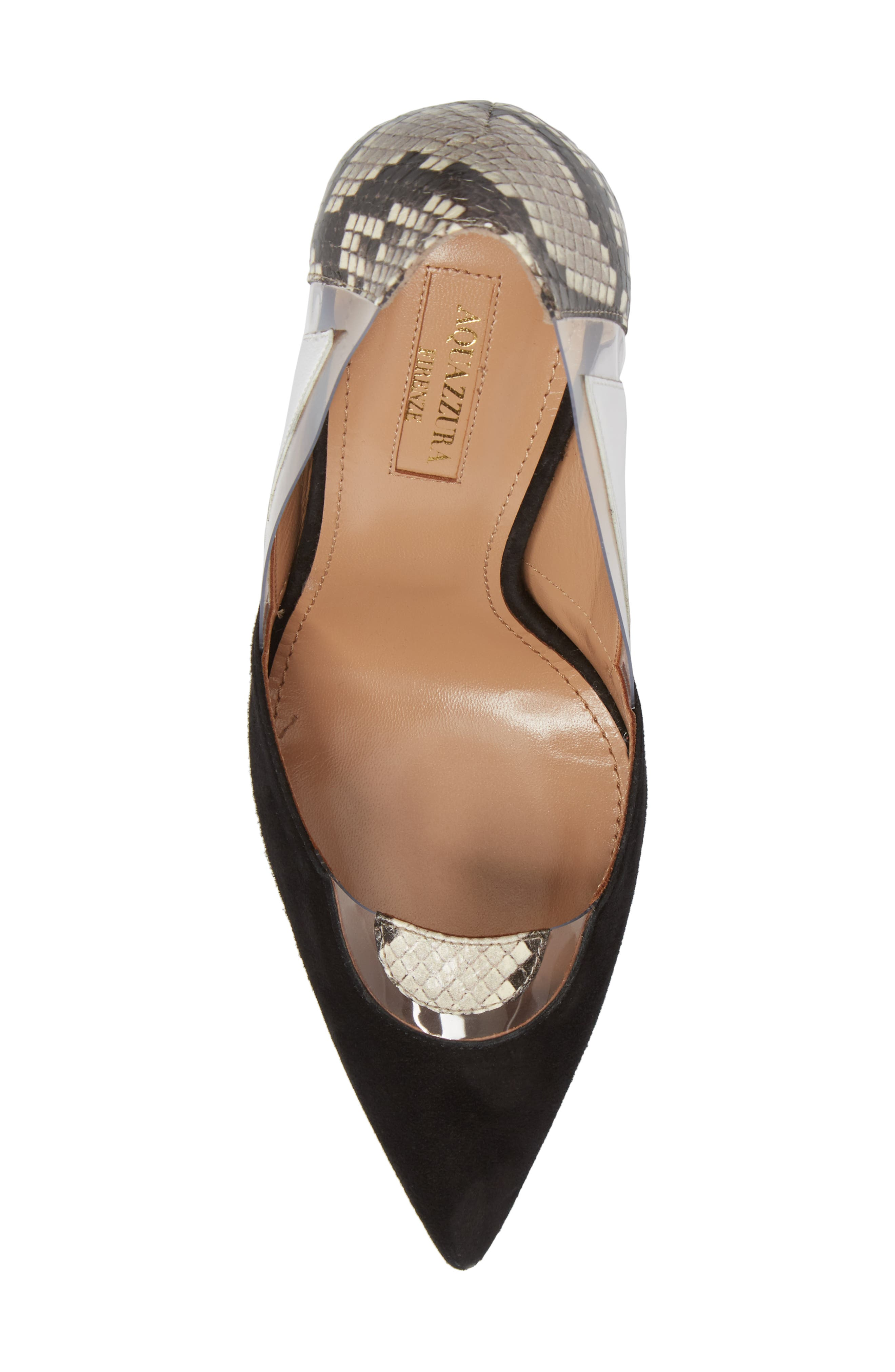 Fearless Genuine Snakeskin Pointy Toe Pump,                             Alternate thumbnail 5, color,                             006