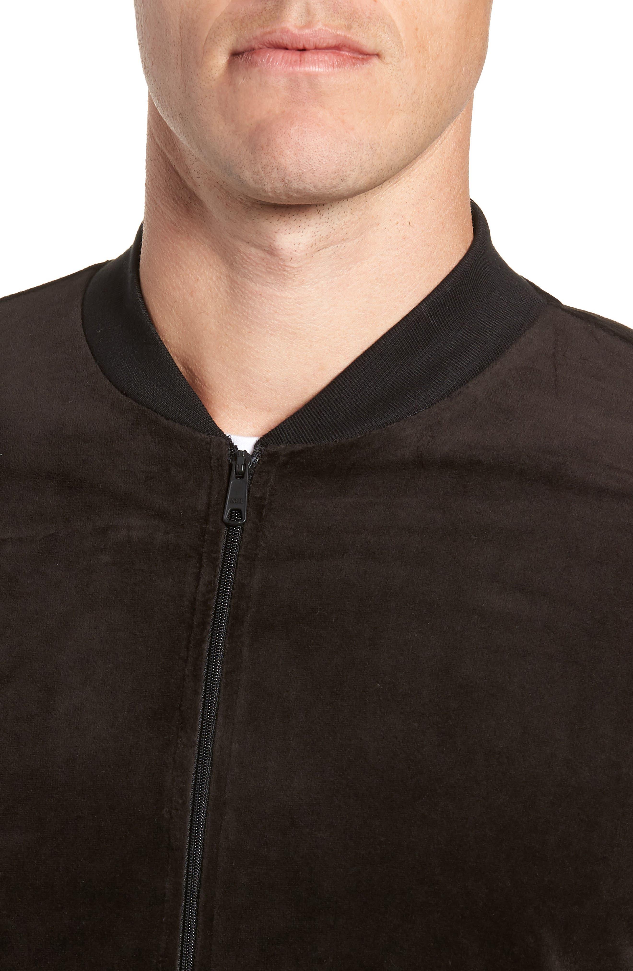 Velour Jacket,                             Alternate thumbnail 4, color,                             POLO BLACK