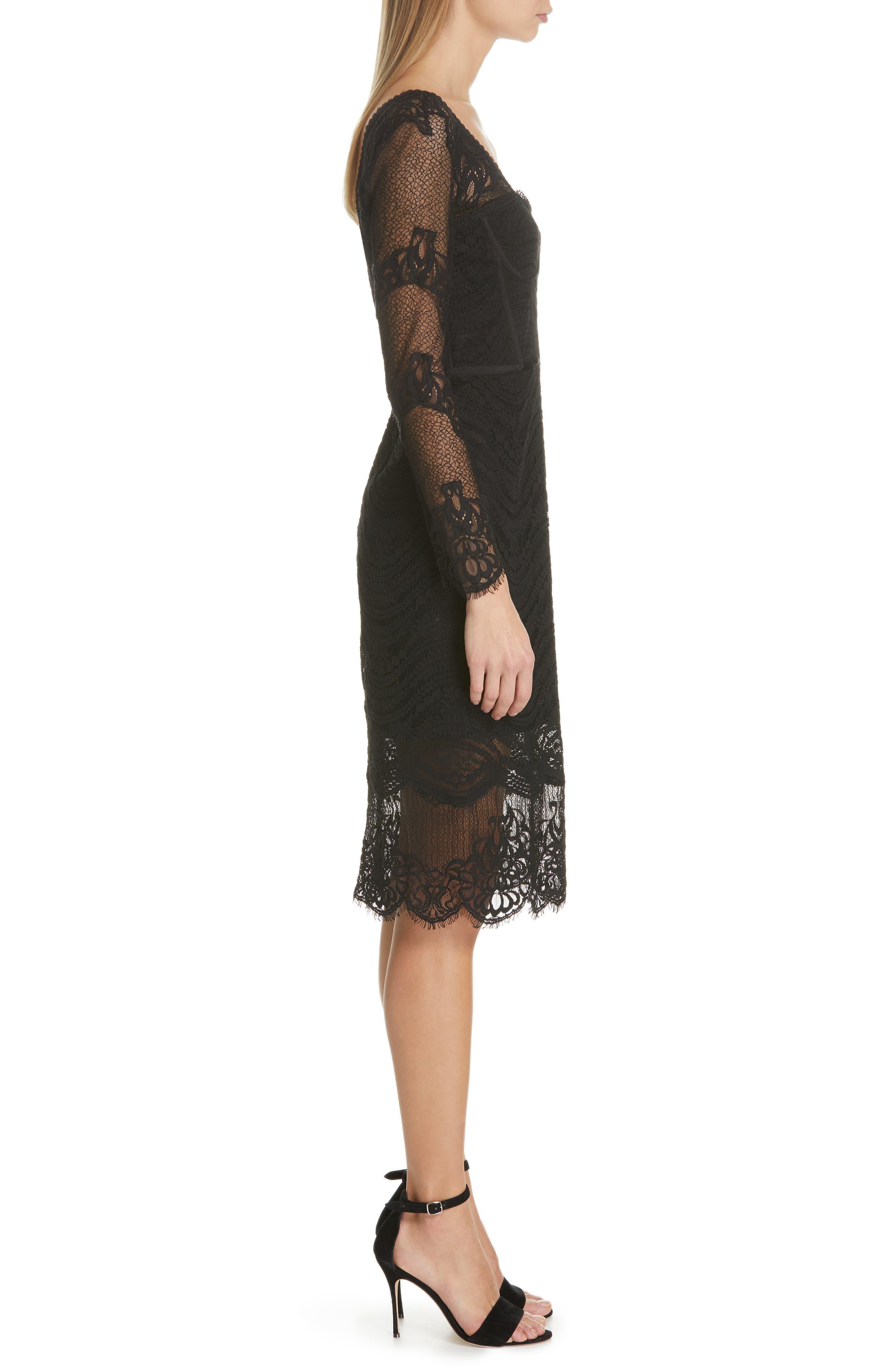 JONATHAN SIMKHAI,                             Lace Bustier Bodysuit Dress,                             Alternate thumbnail 3, color,                             BLACK