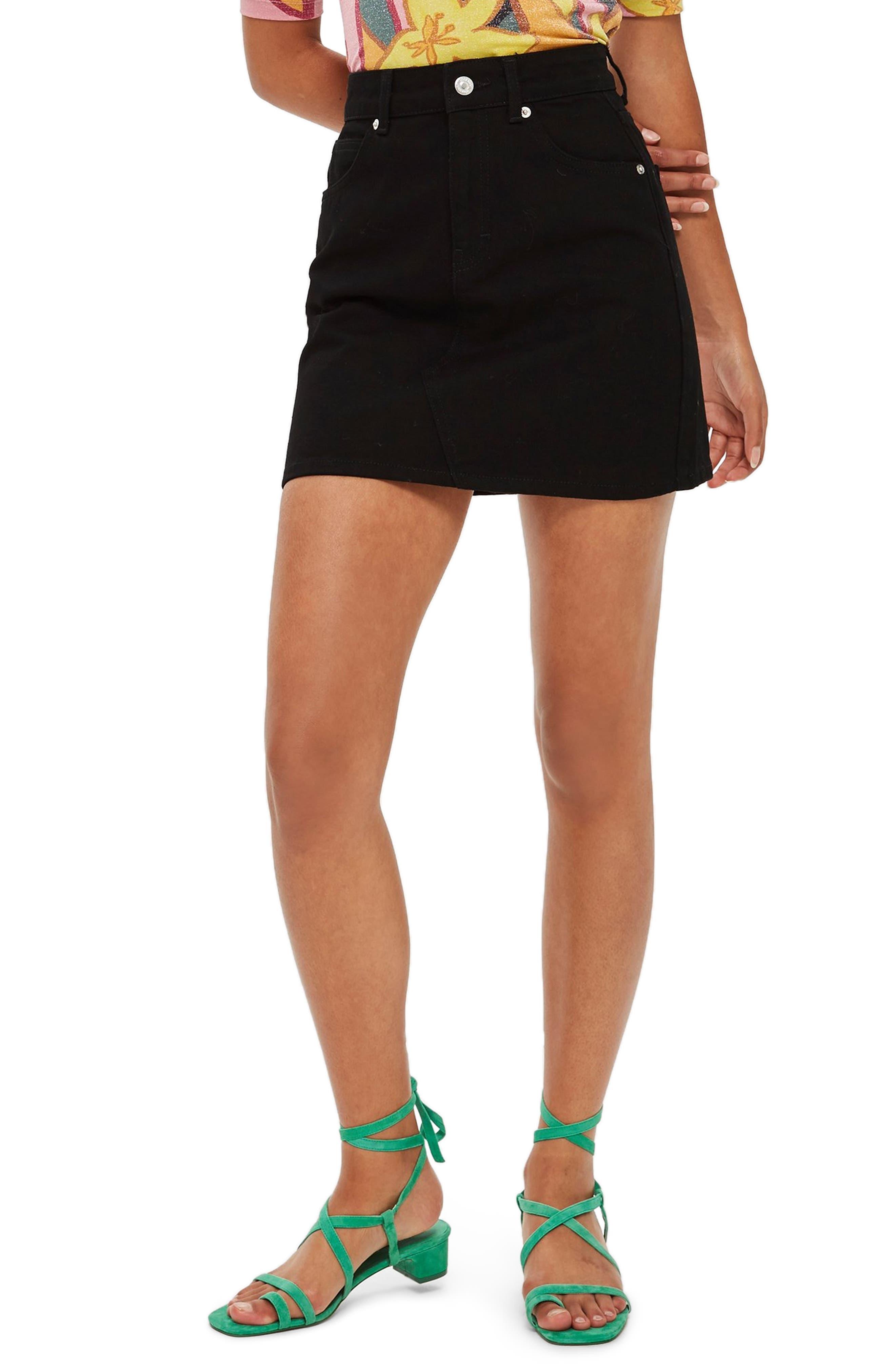 Petite Topshop High Waist Denim Skirt, US (fits like 00P) - Black