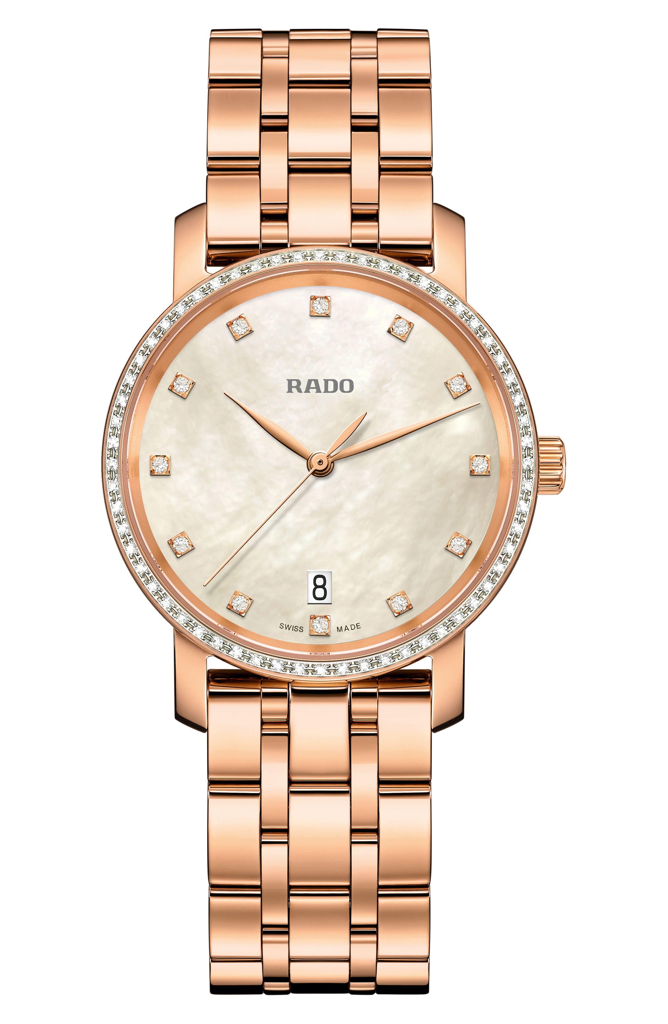DiaMaster Diamond Bracelet Watch, 33mm,                         Main,                         color, ROSE GOLD/ MOP/ ROSE GOLD