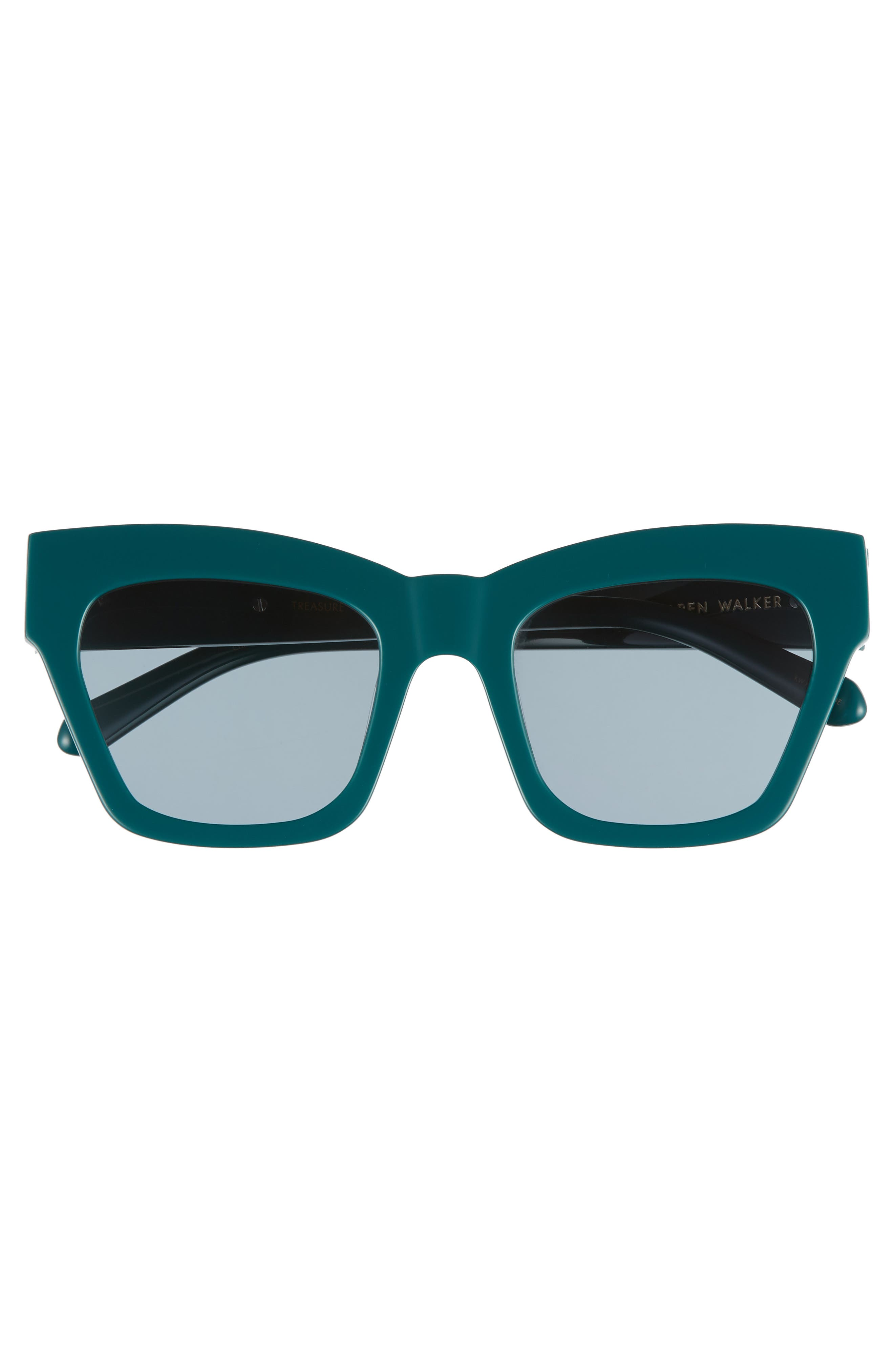 Treasure 52mm Cat Eye Sunglasses,                             Alternate thumbnail 3, color,                             EMERALD/ EMERALD