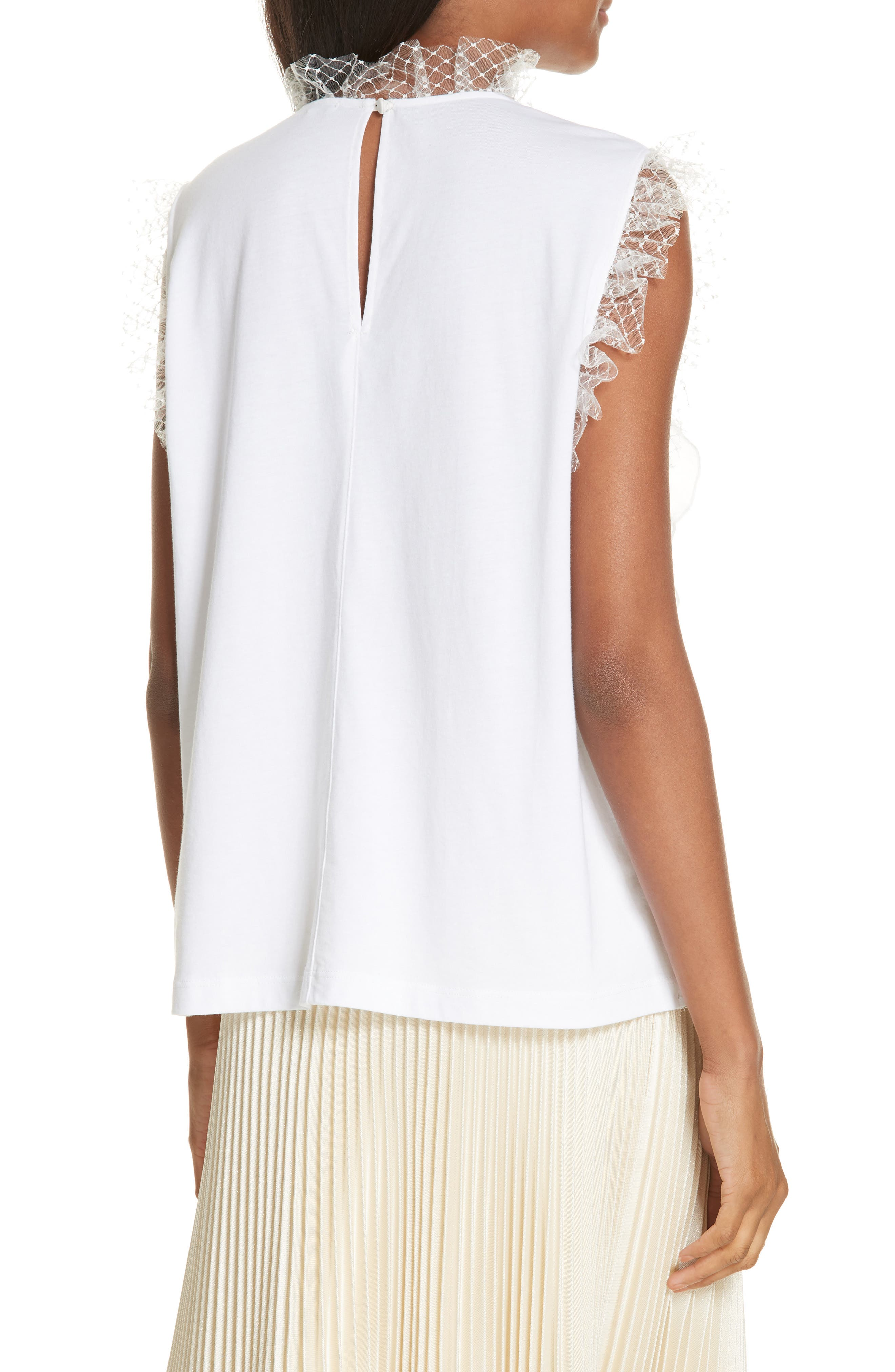 Paneled Mix Lace Sleeveless Top,                             Alternate thumbnail 2, color,                             WHITE