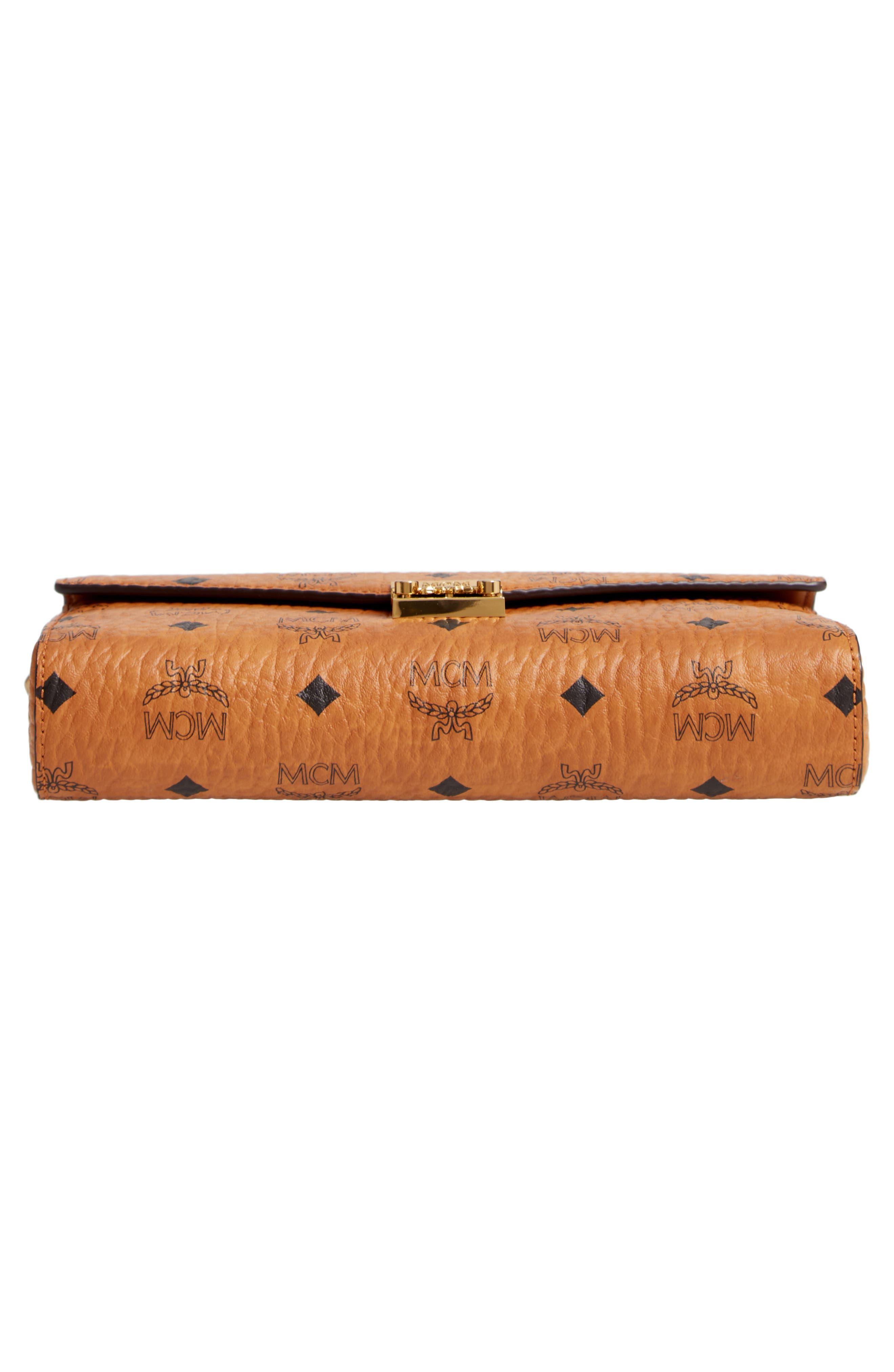 Millie Monogrammed Leather Crossbody Bag,                             Alternate thumbnail 6, color,                             COGNAC BROWN