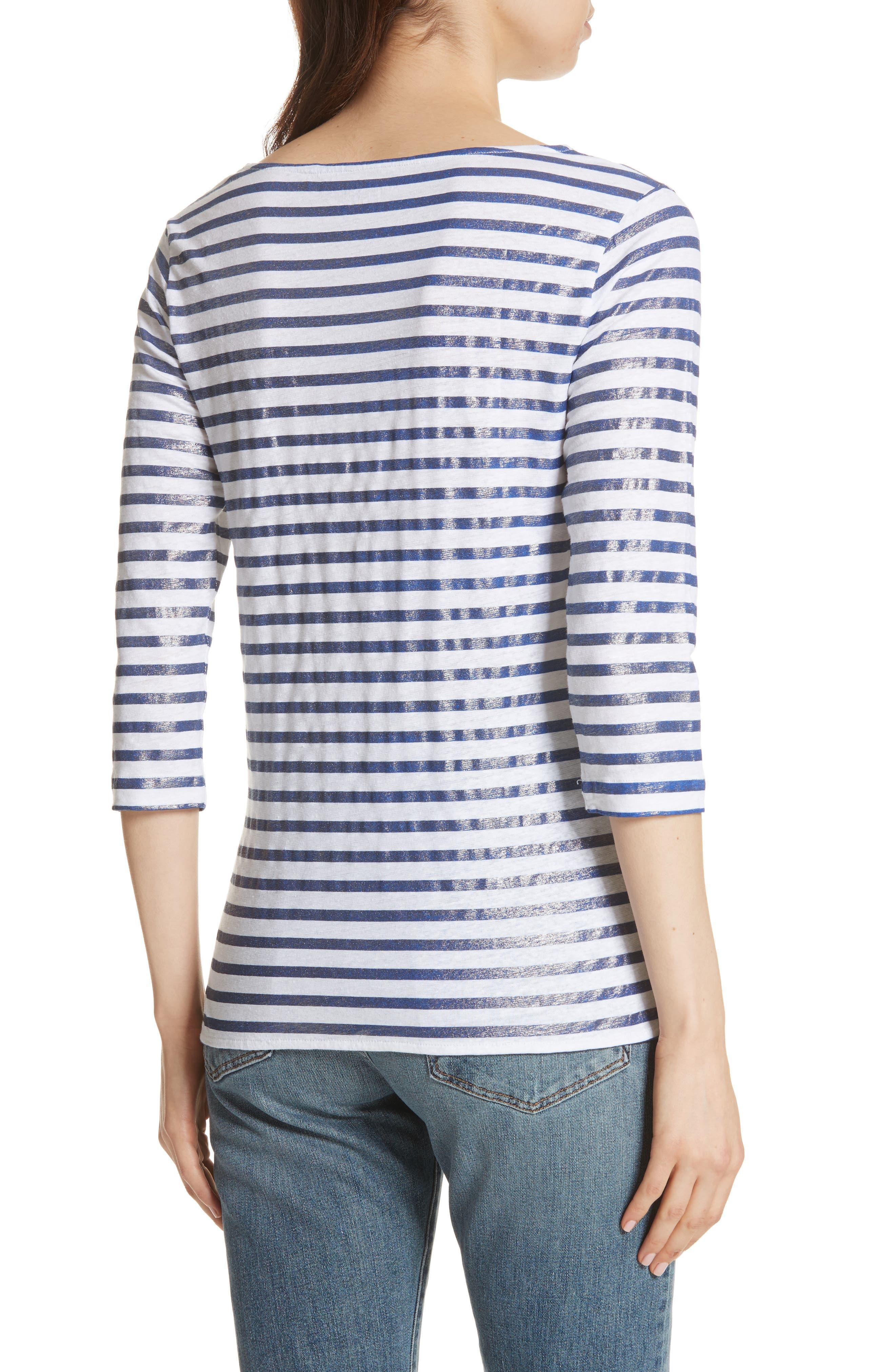 Linen Stretch Stripe Top,                             Alternate thumbnail 2, color,                             425