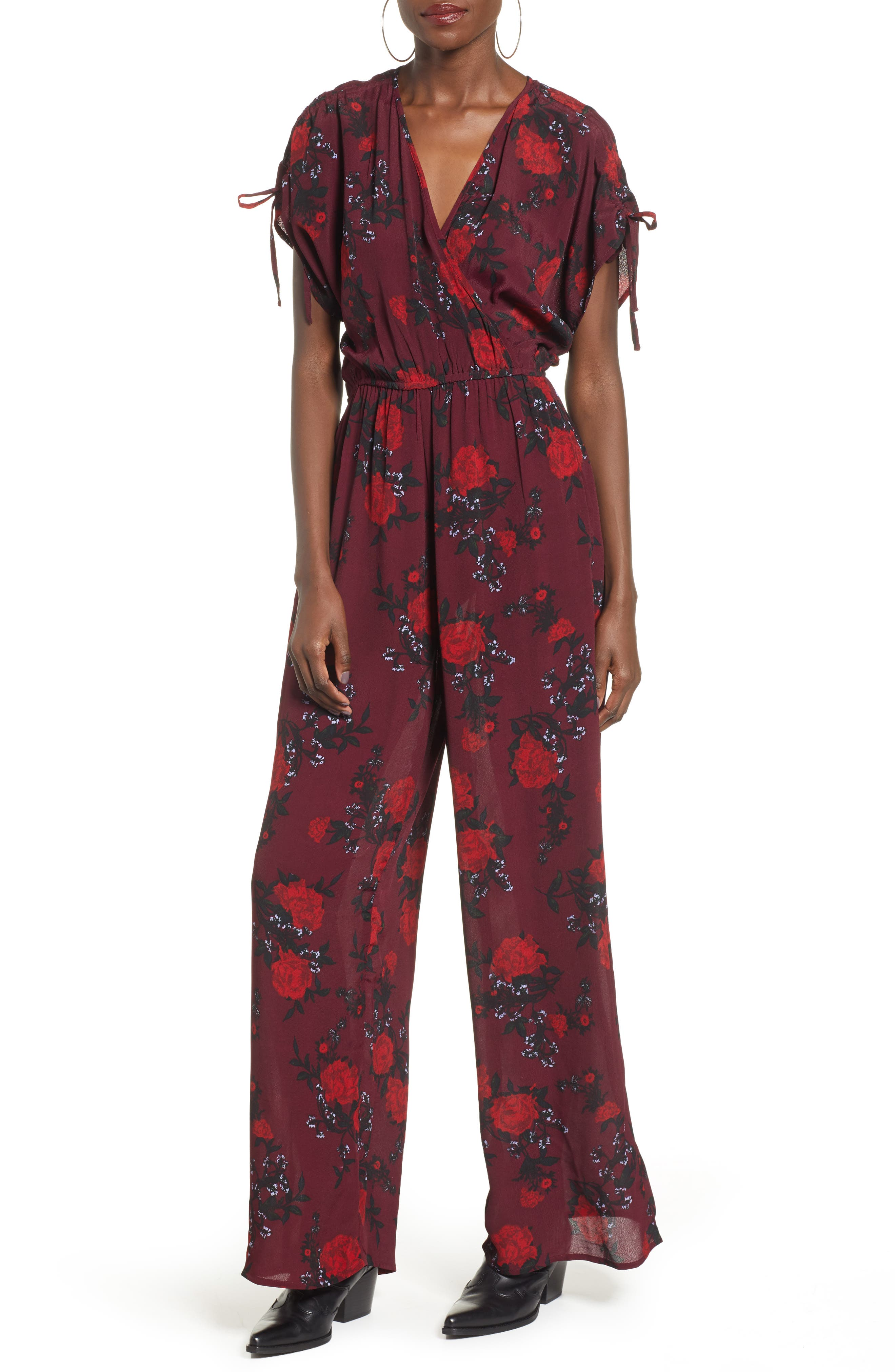 BAND OF GYPSIES Morgan Rose Print Jumpsuit in Burgundy/ Red