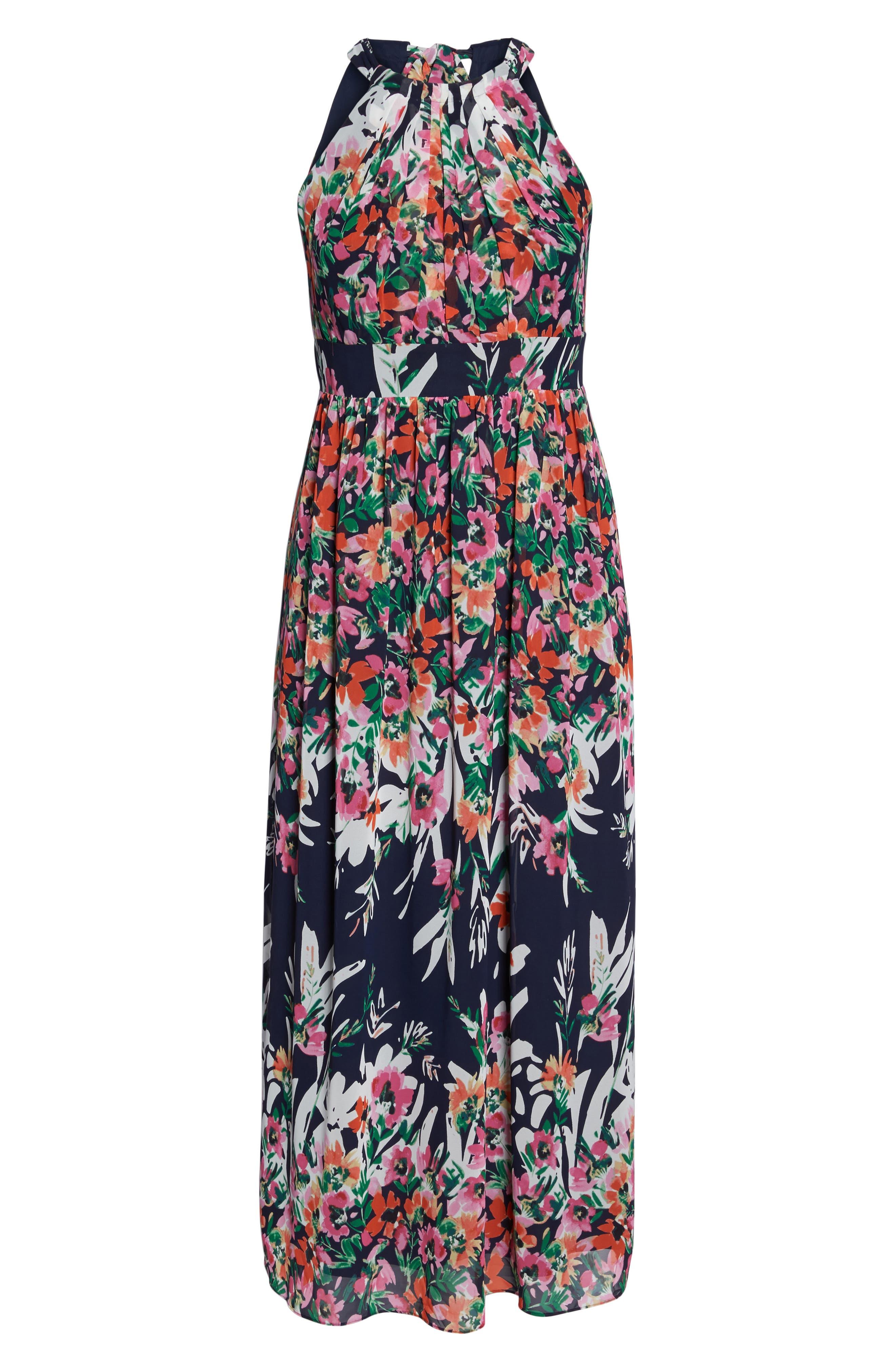 Floral Halter Chiffon Maxi Dress,                             Alternate thumbnail 7, color,                             NAVY/ PINK