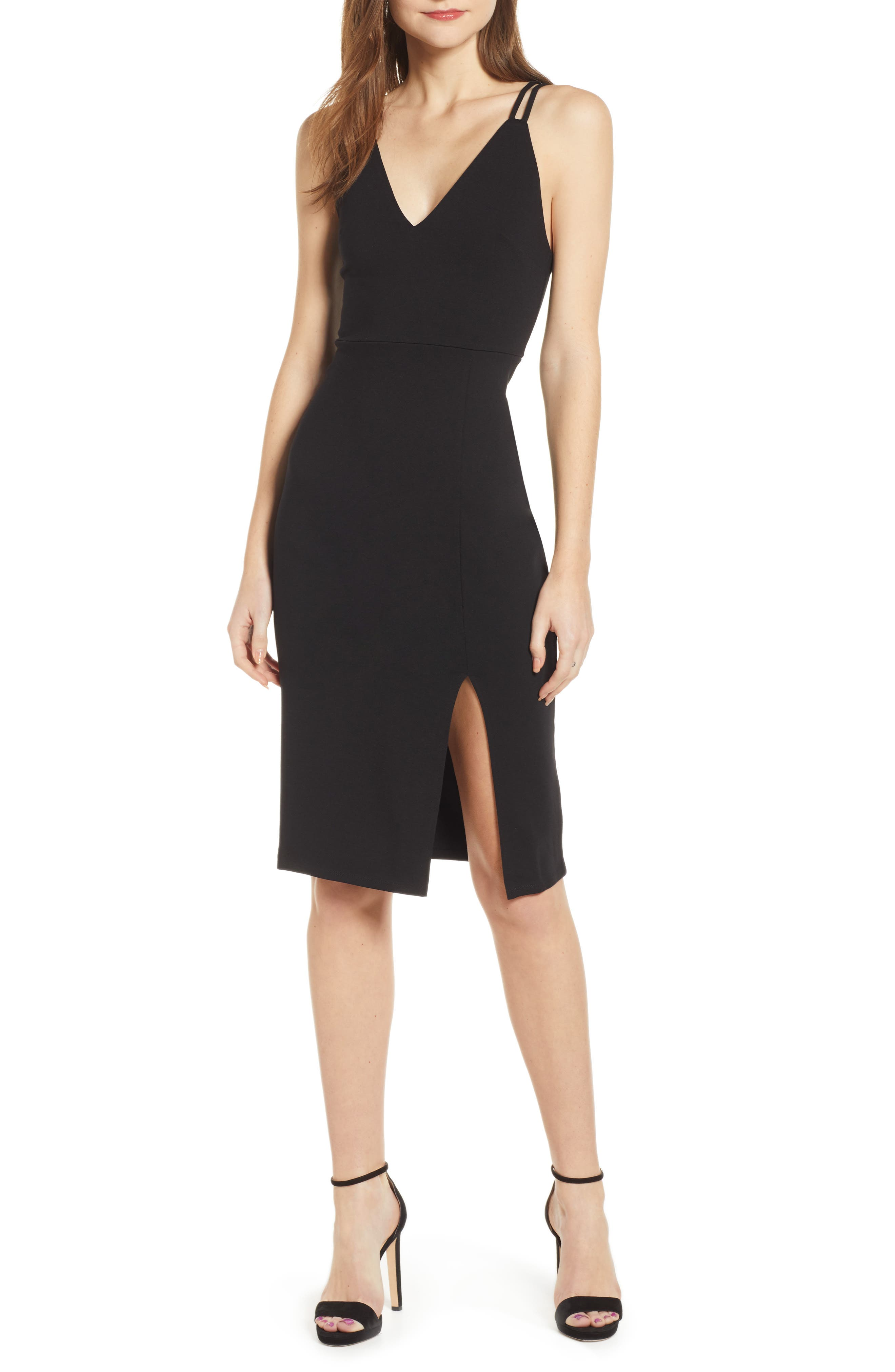 Socialite Deep V Double Strap Dress, Black