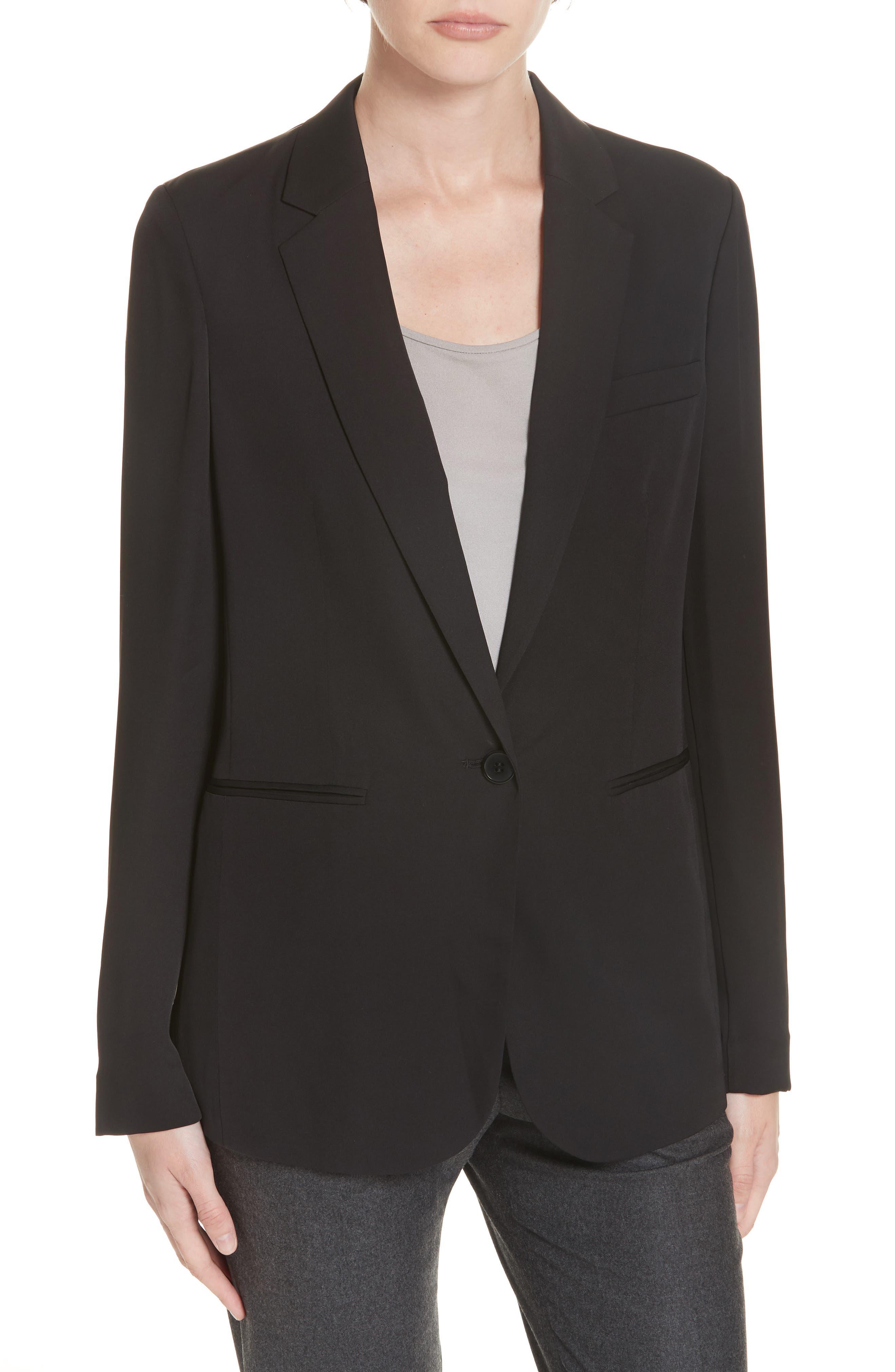 Grinson Silk Suit Jacket,                             Main thumbnail 1, color,                             001