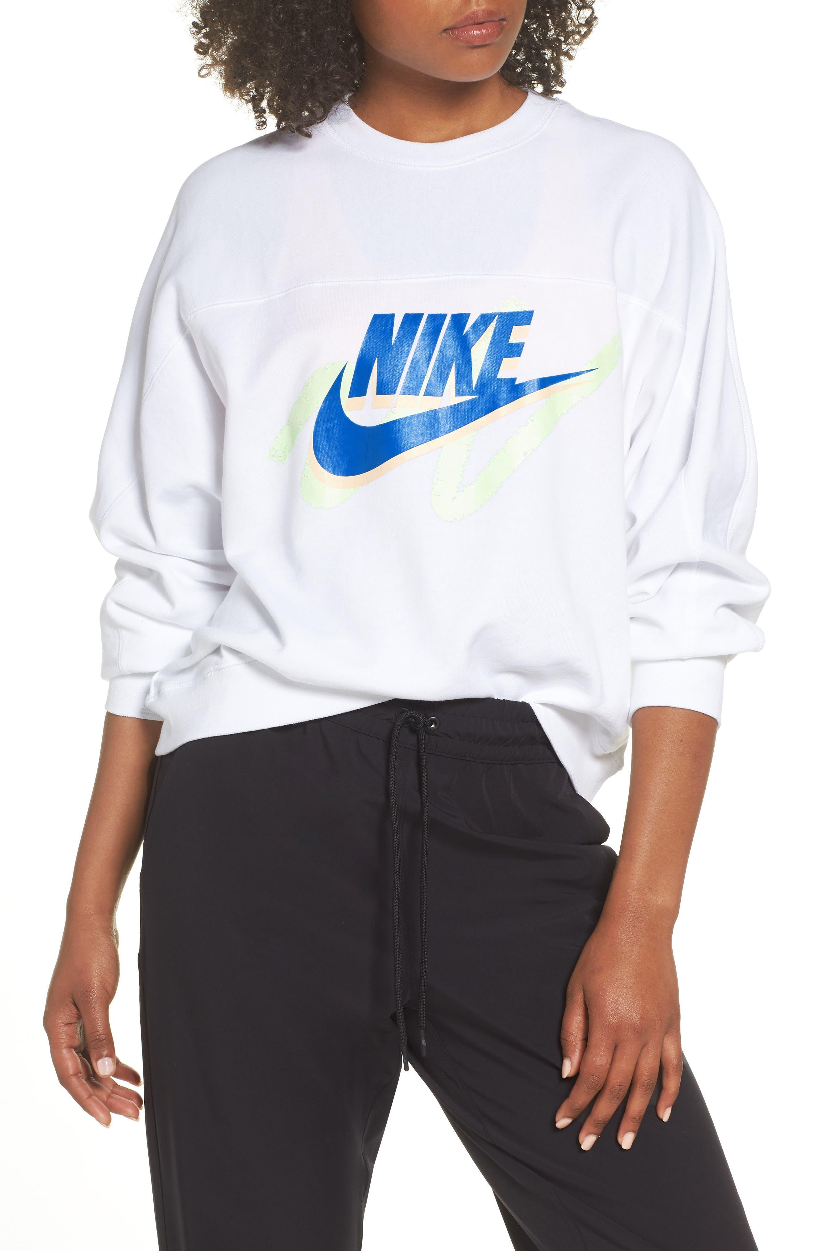 Sportswear Archive Women's Long Sleeve Crewneck Tee,                             Alternate thumbnail 3, color,                             WHITE/ WHITE/ WHITE