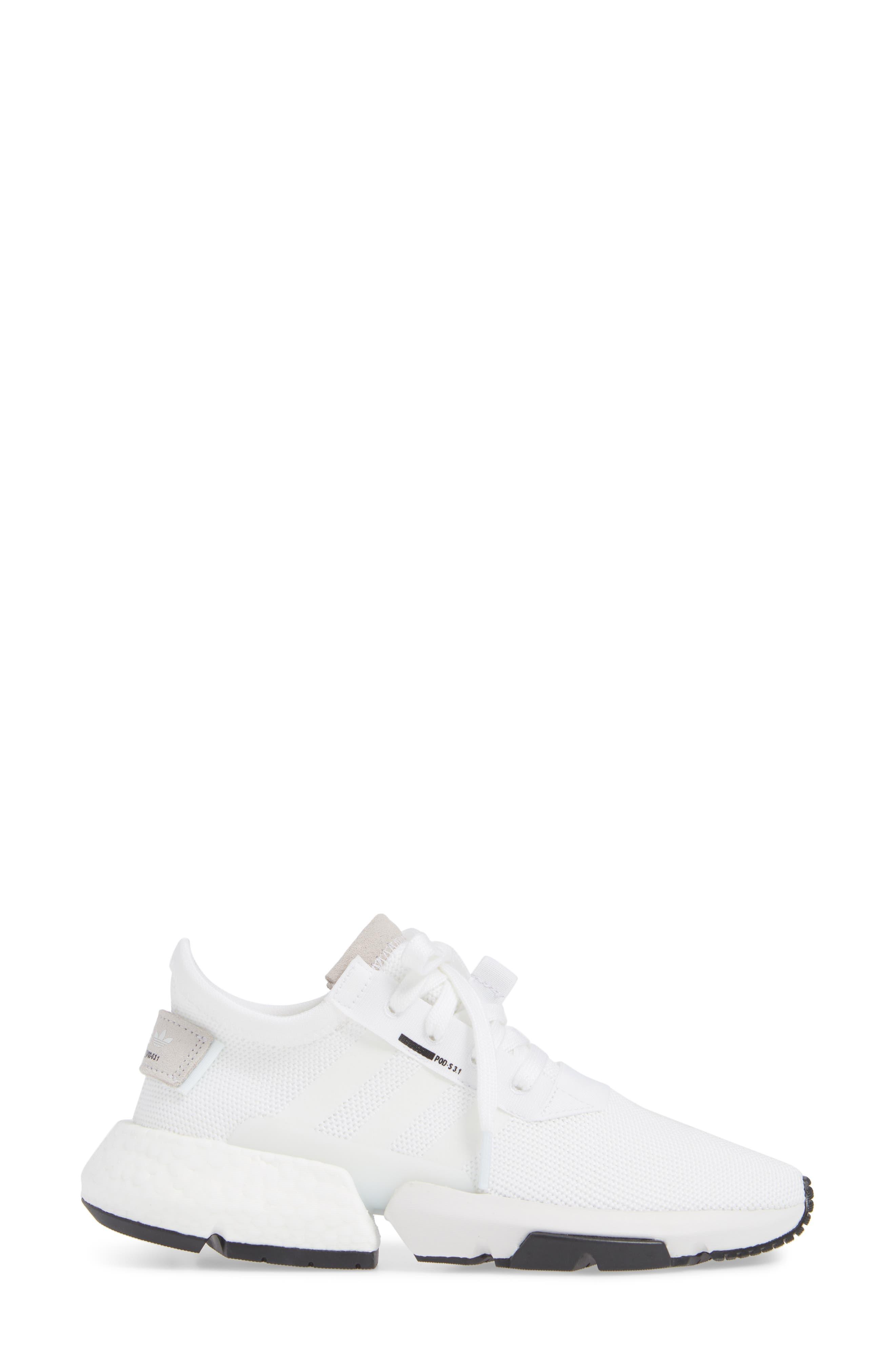 Pod S3.1 Sneaker,                             Alternate thumbnail 3, color,                             WHITE/ WHITE/ CORE BLACK