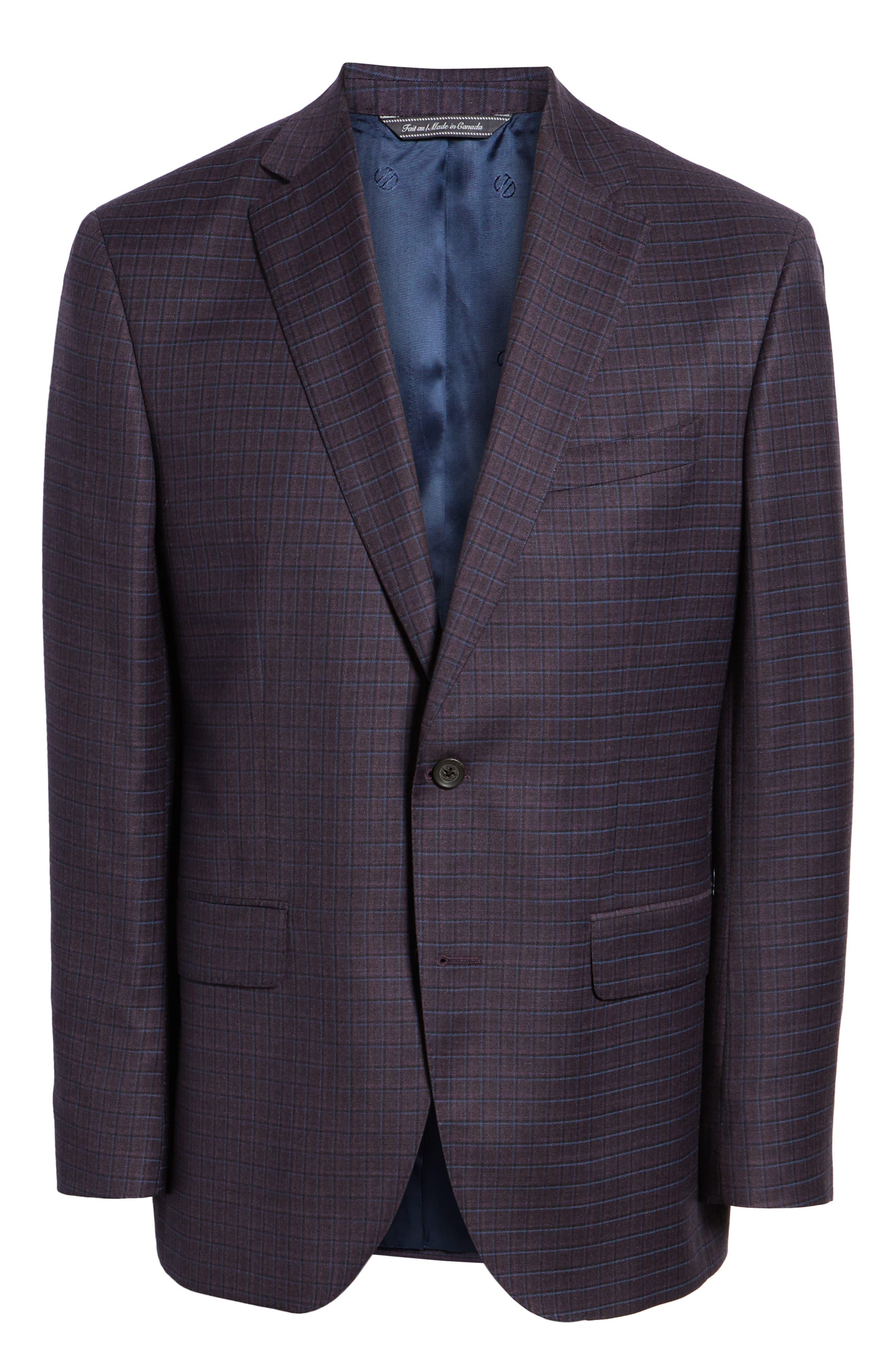 Connor Classic Fit Check Wool Sport Coat,                             Alternate thumbnail 5, color,                             BORDEAUX