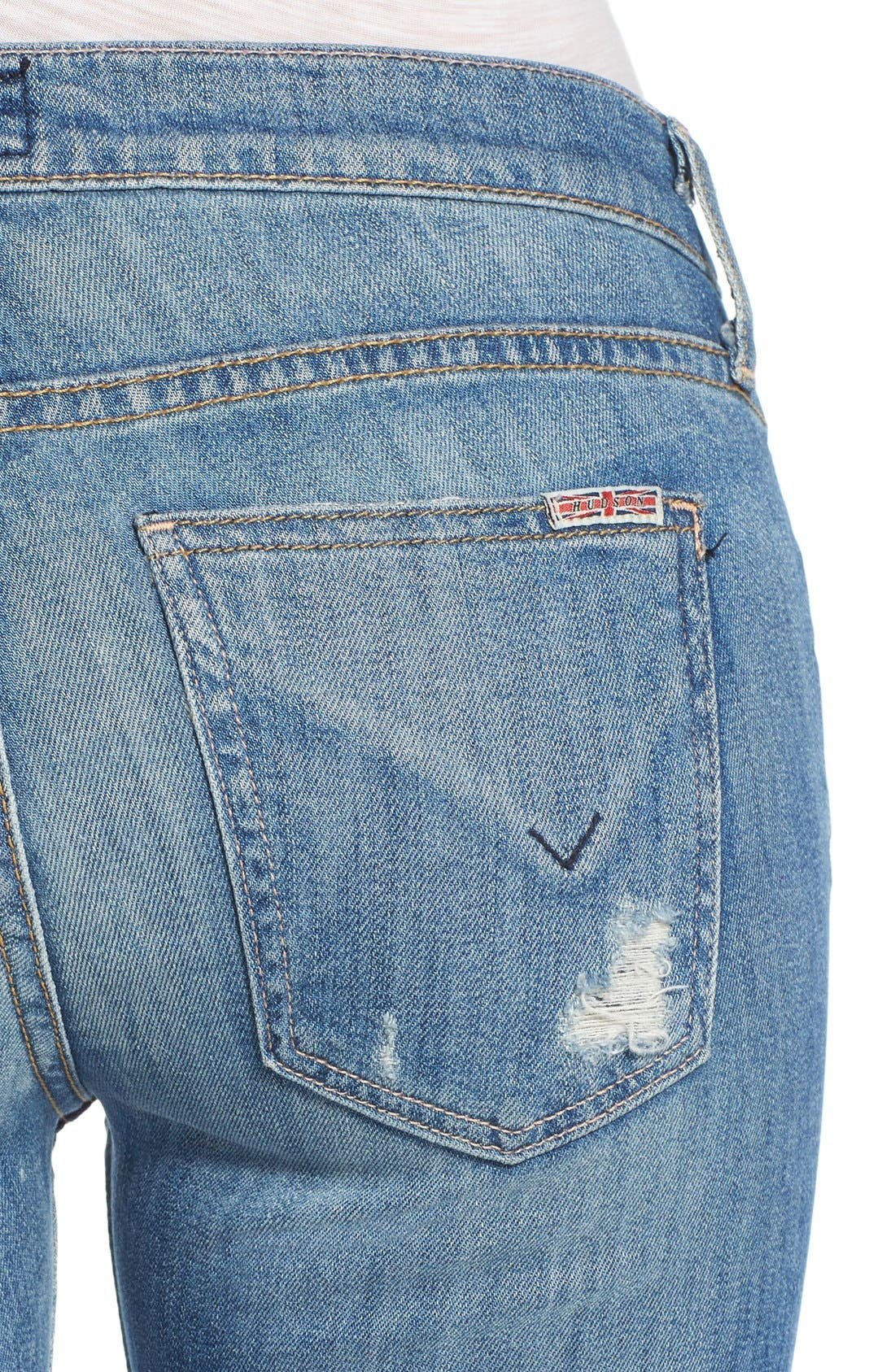 'Muse' Cuff Crop Jeans,                             Alternate thumbnail 3, color,                             INDIE