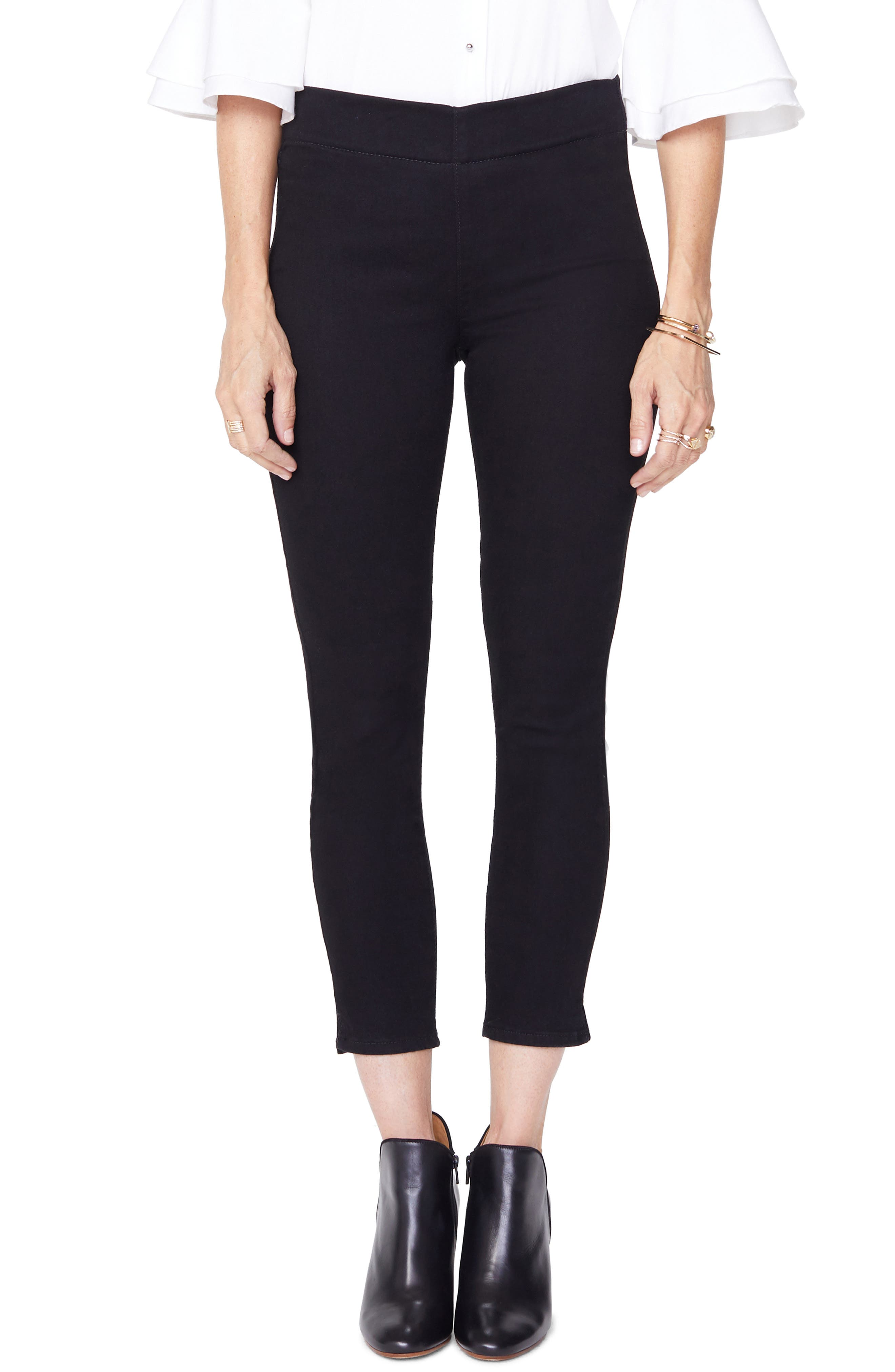 Alina High Waist Pull-On Ankle Skinny Jeans,                             Main thumbnail 1, color,                             BLACK