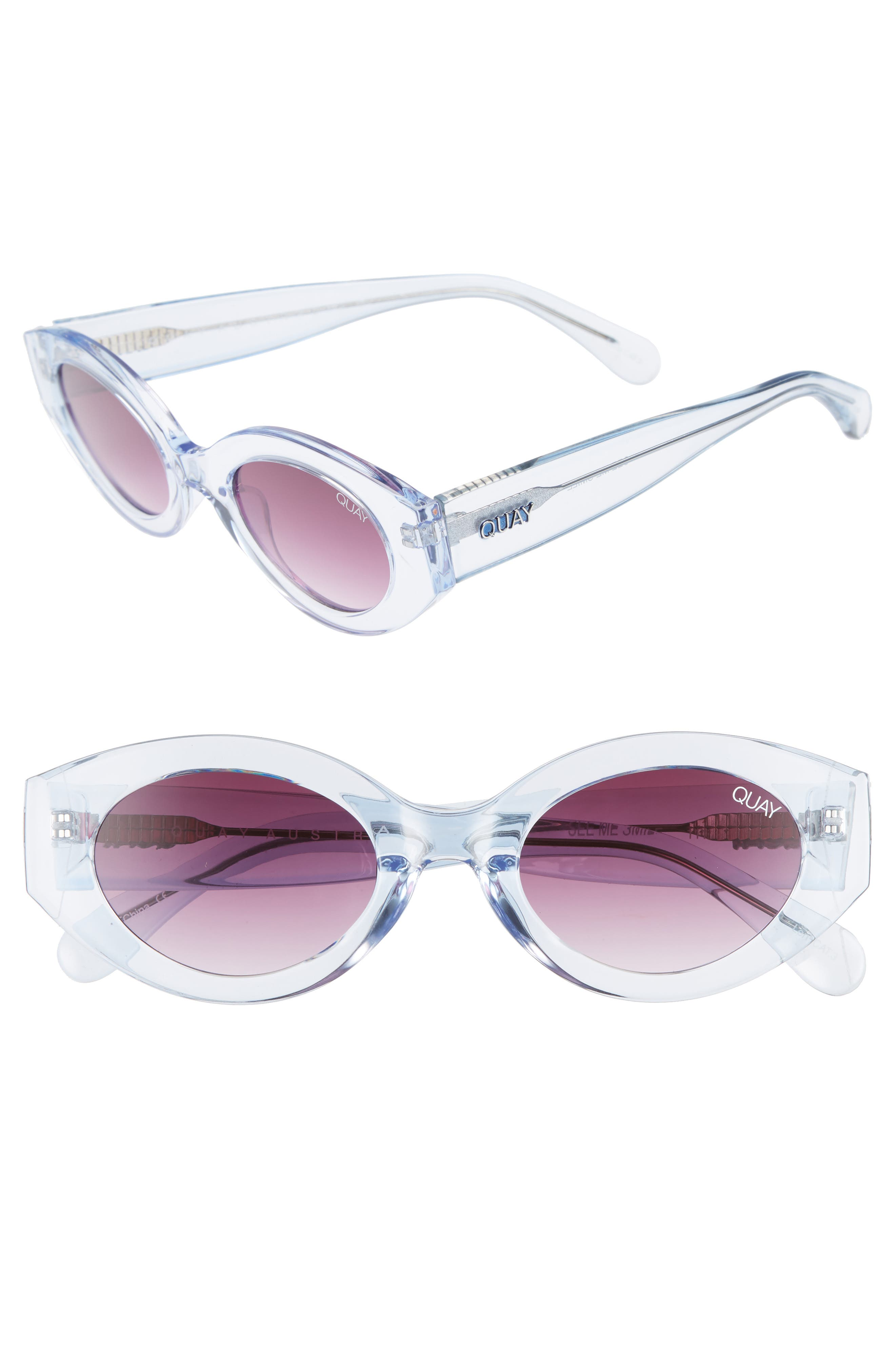 Quay Australia See Me Smile 50Mm Cat Eye Sunglasses - Blue/ Purple