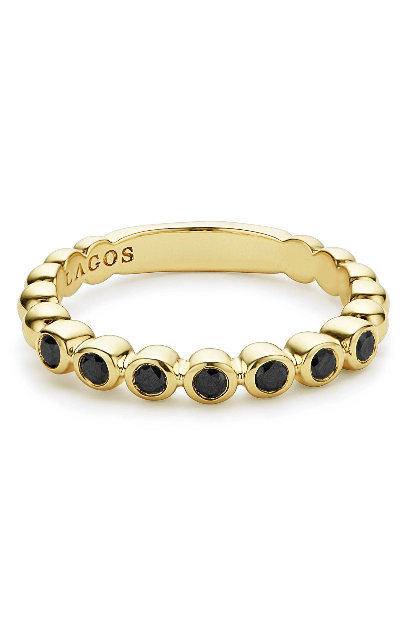 Black Diamond Caviar Stacking Ring,                             Alternate thumbnail 3, color,                             GOLD