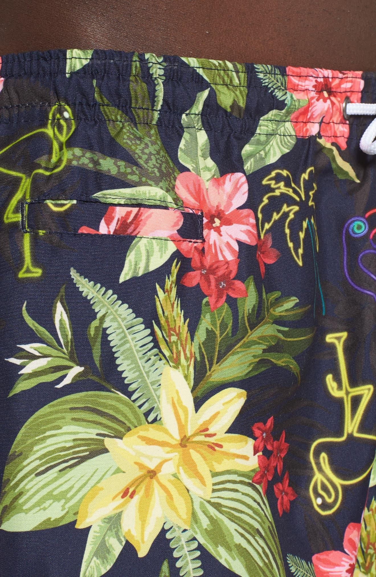 Sano Print Swim Trunks,                             Alternate thumbnail 4, color,                             NEON HAWAIIAN