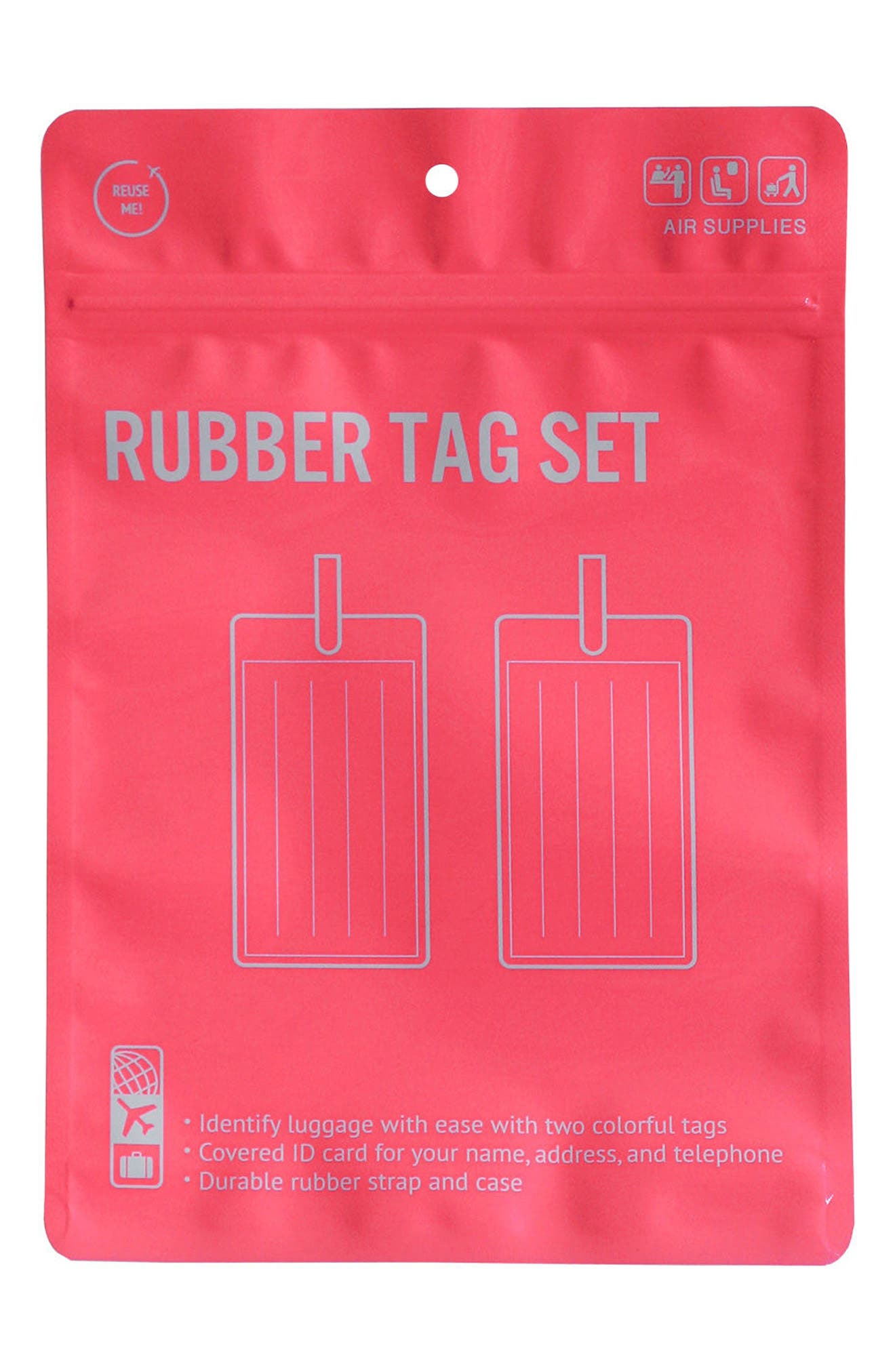 Essentials Set of 2 Rubber Luggage Tags,                             Alternate thumbnail 4, color,