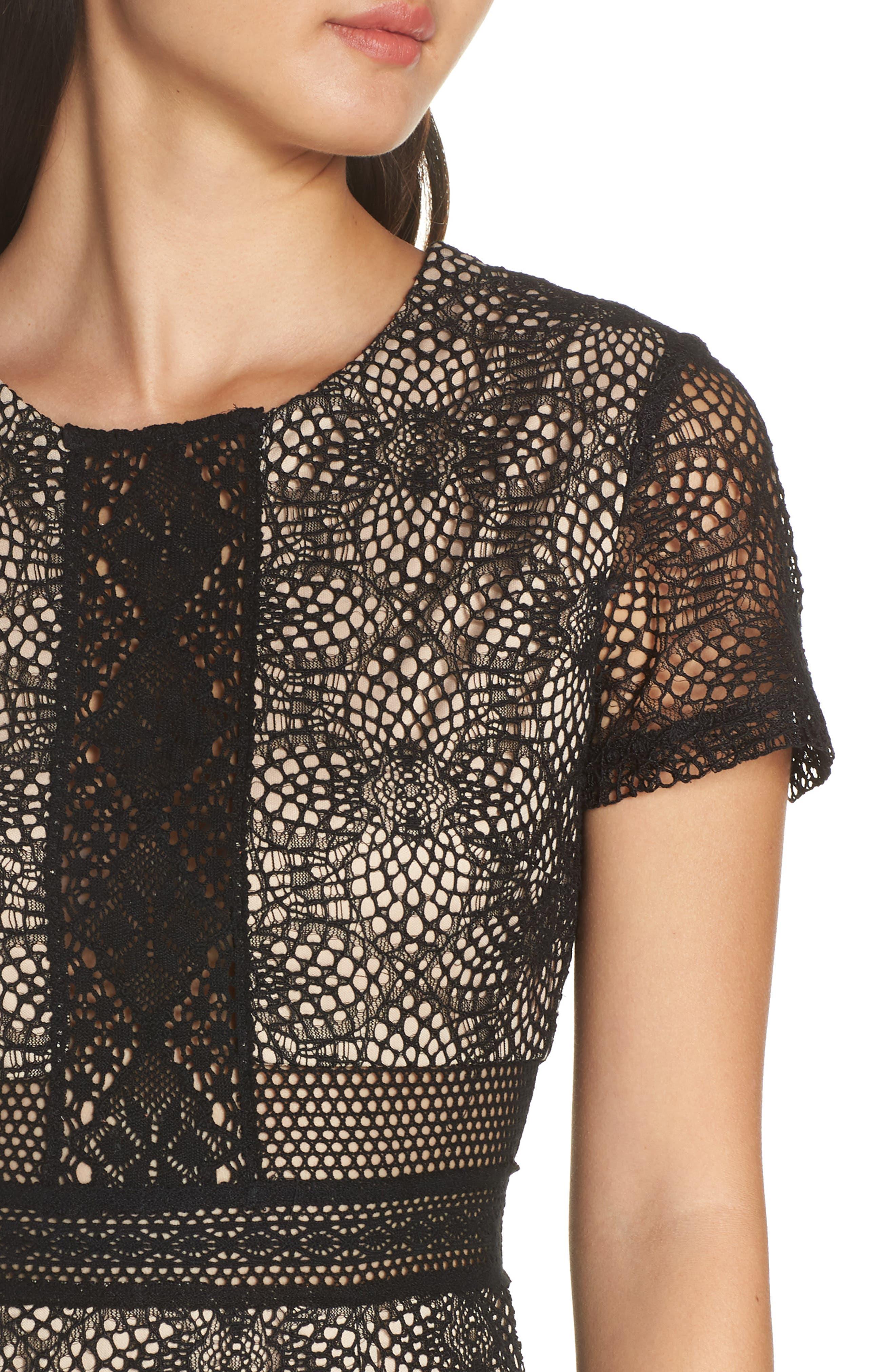 Juliette Lace Sheath Dress,                             Alternate thumbnail 4, color,                             BLACK