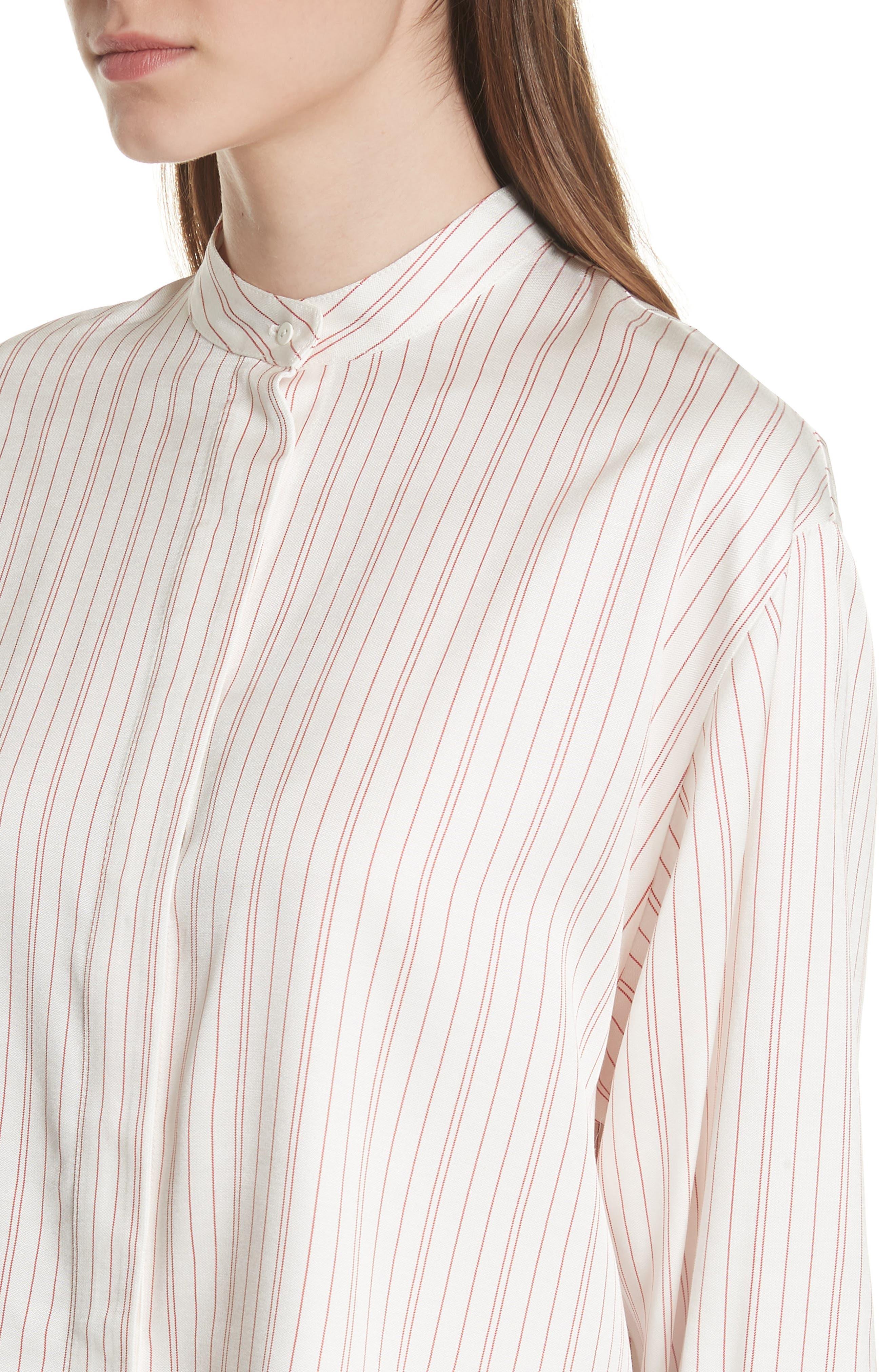 Stripe High/Low Blouse,                             Alternate thumbnail 4, color,                             100