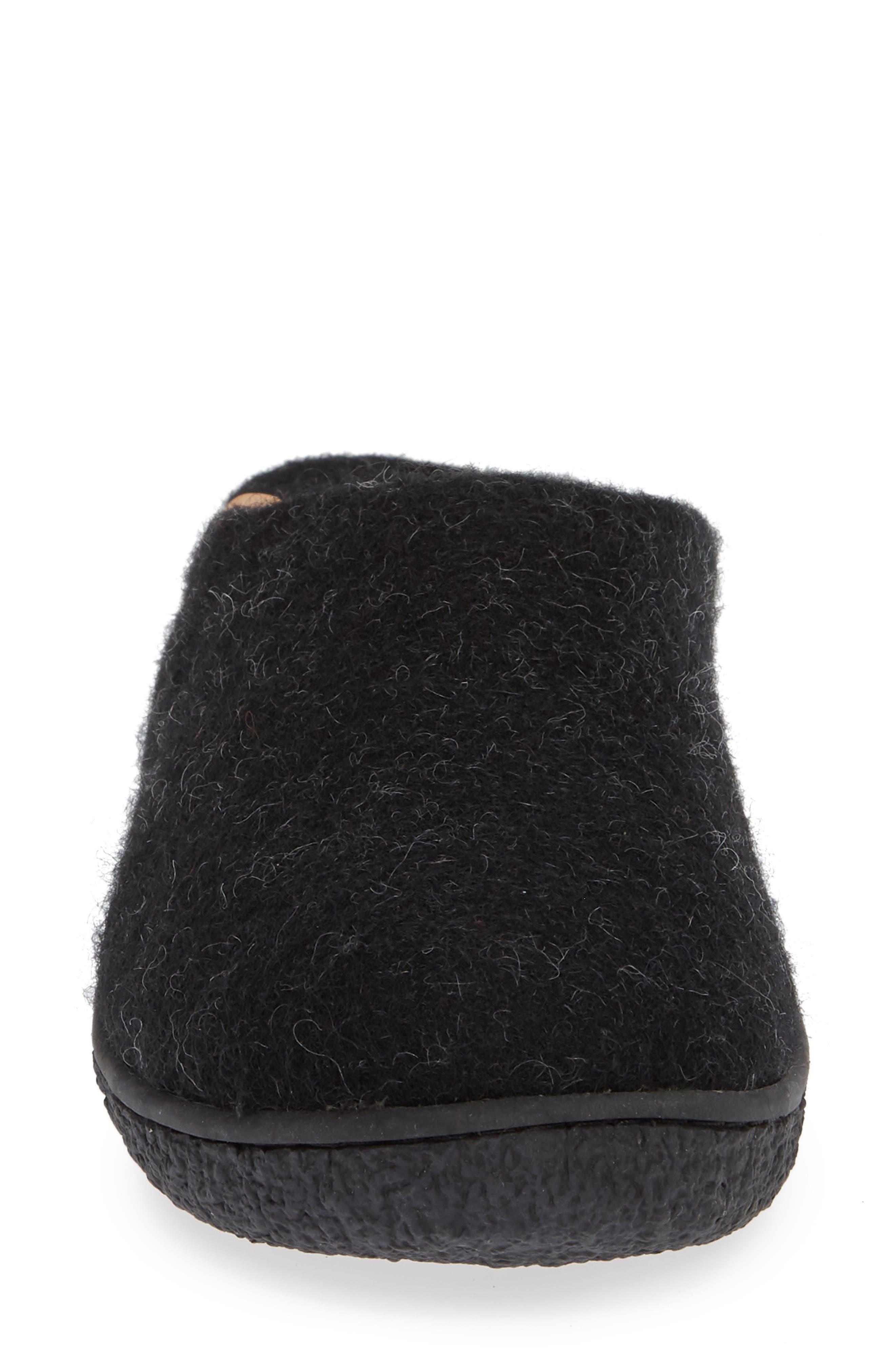 Tibet Wool Slipper,                             Alternate thumbnail 4, color,                             BLACK WOOL