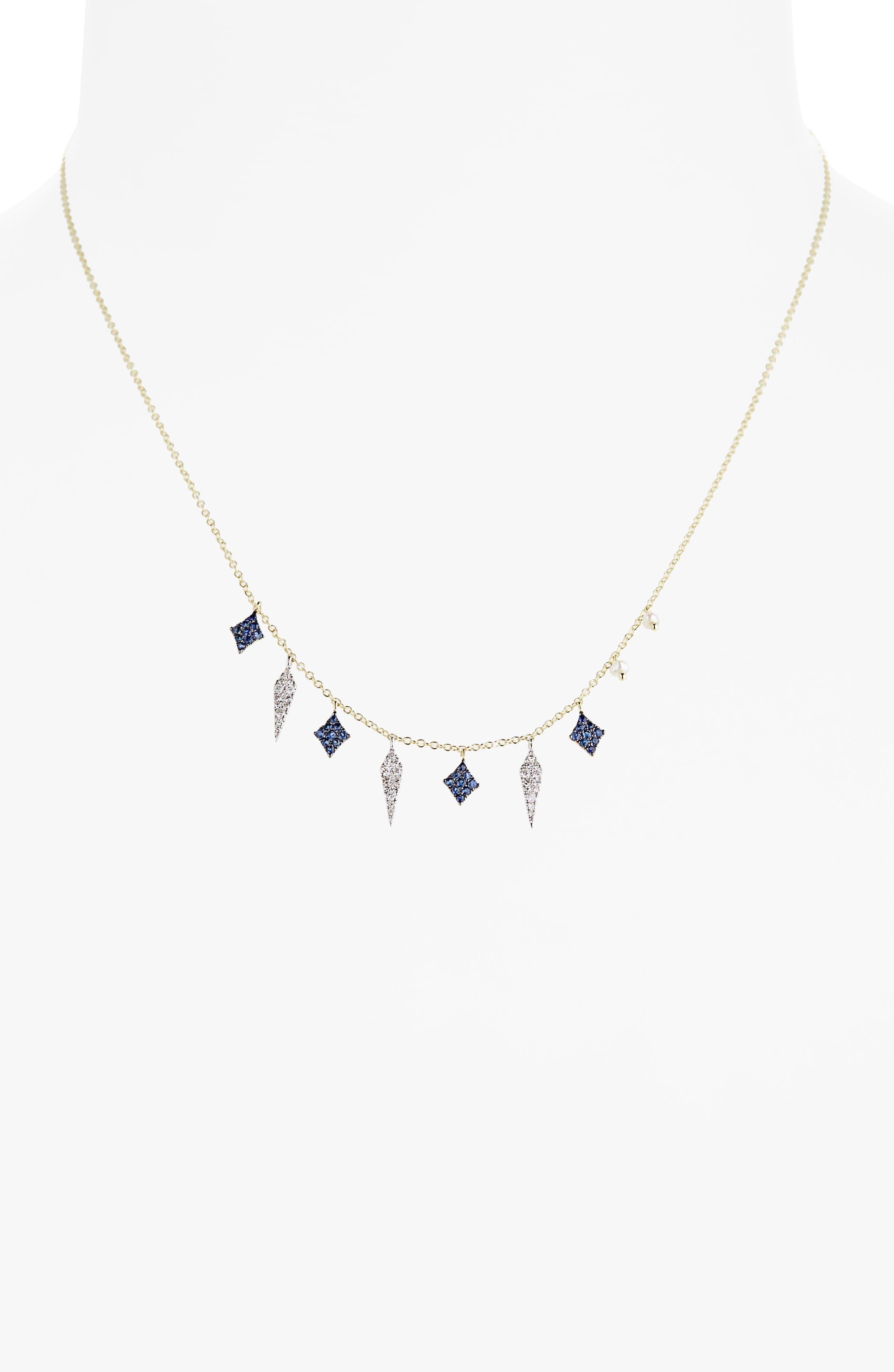 Miera T Diamond & Sapphire Charm Necklace,                             Alternate thumbnail 2, color,                             710