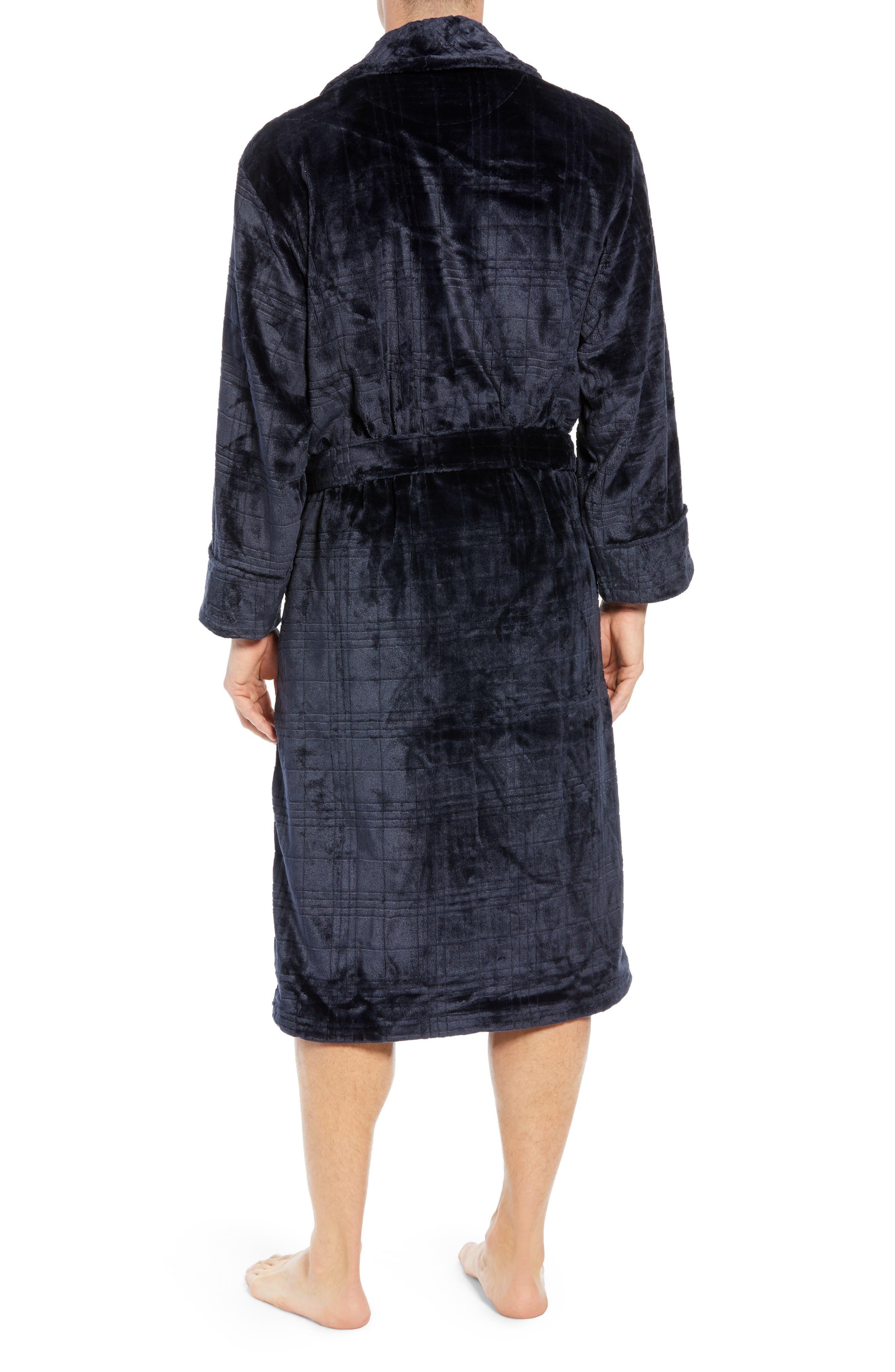 Plaid Plush Jacquard Robe,                             Alternate thumbnail 2, color,                             MIDNIGHT