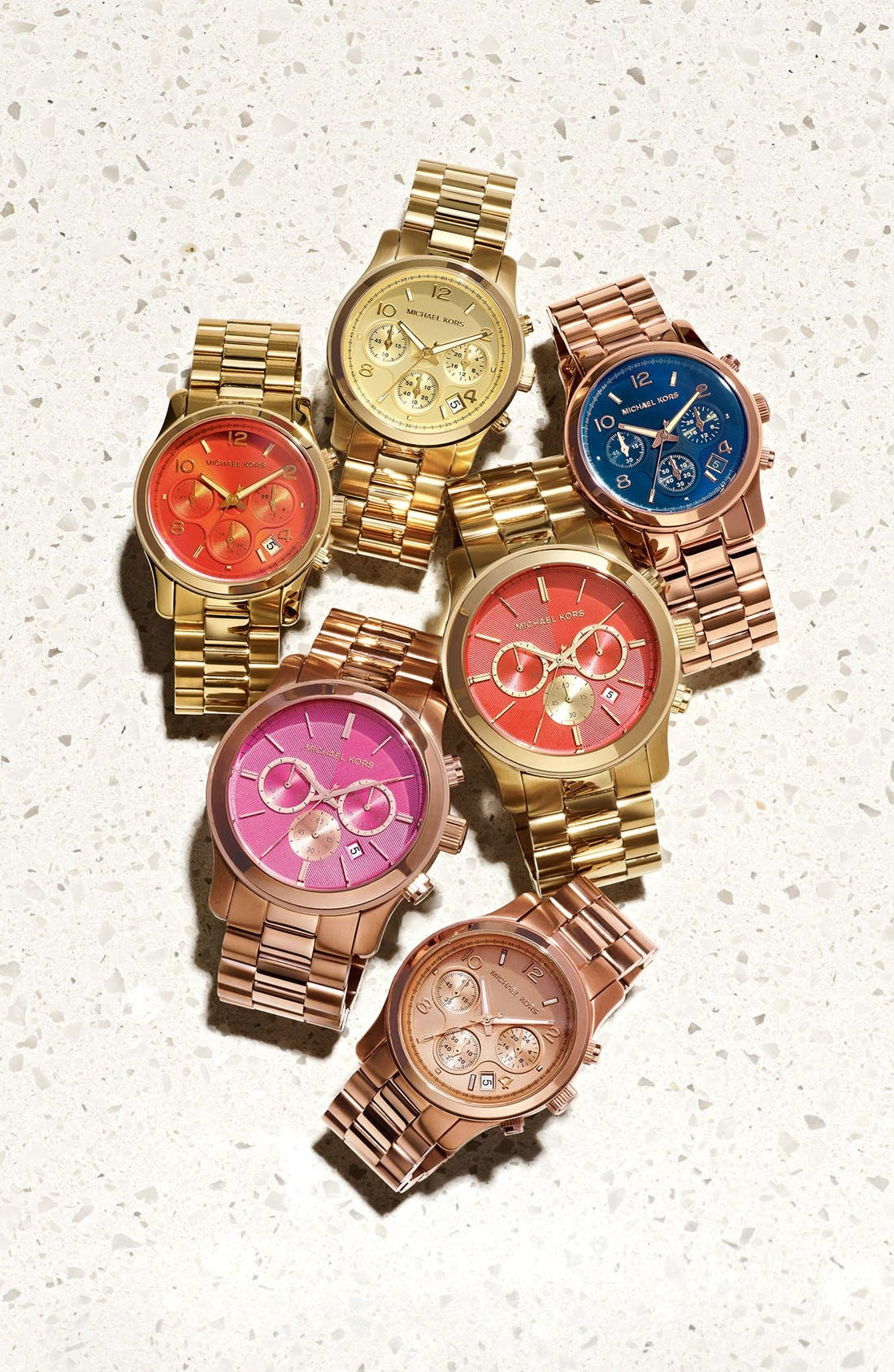 MICHAEL MICHAEL KORS,                             Michael Kors 'Runway' Rose Gold Plated Watch, 37mm,                             Alternate thumbnail 7, color,                             710
