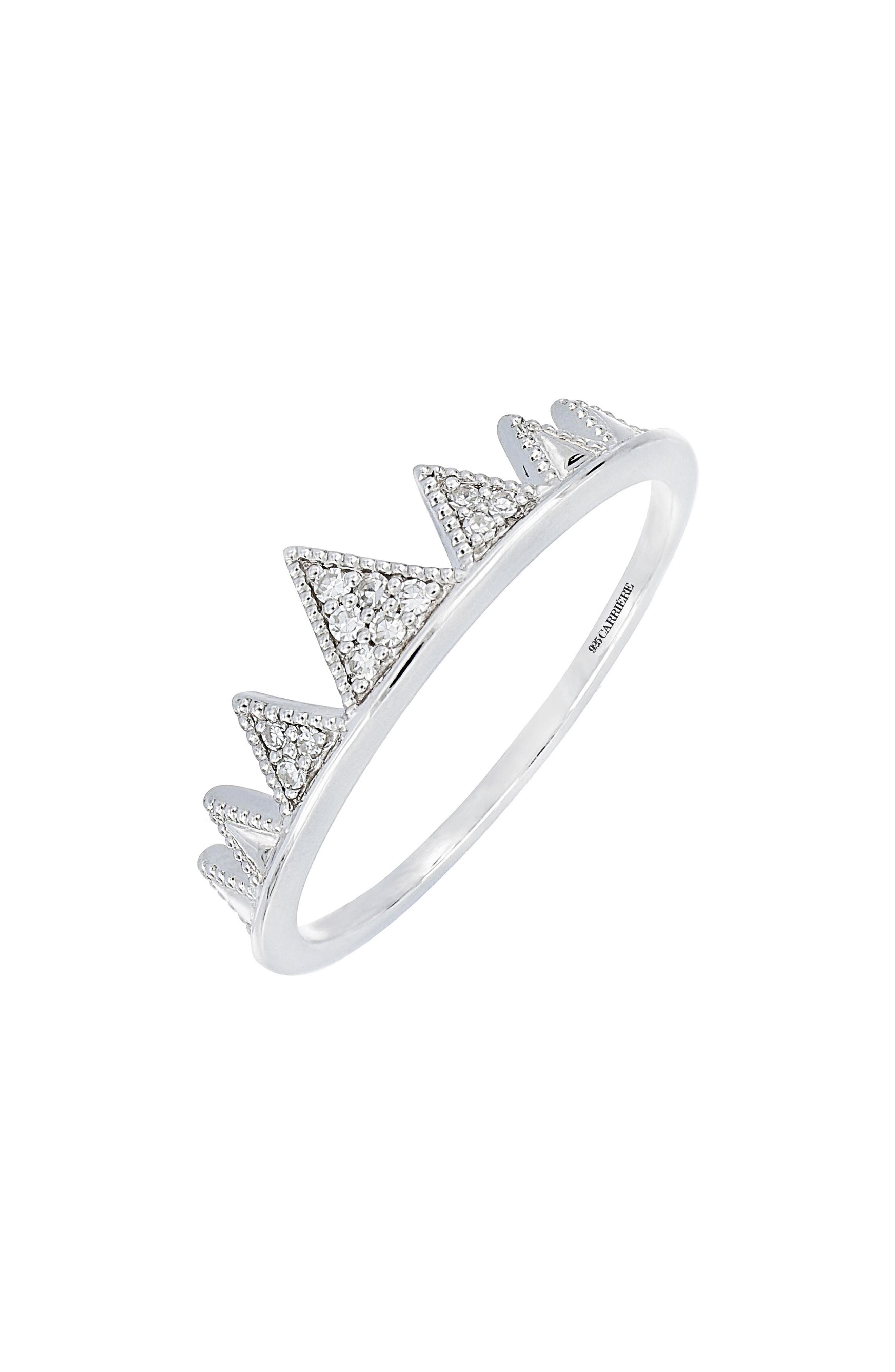 Carrière Diamond Crown Ring,                         Main,                         color,