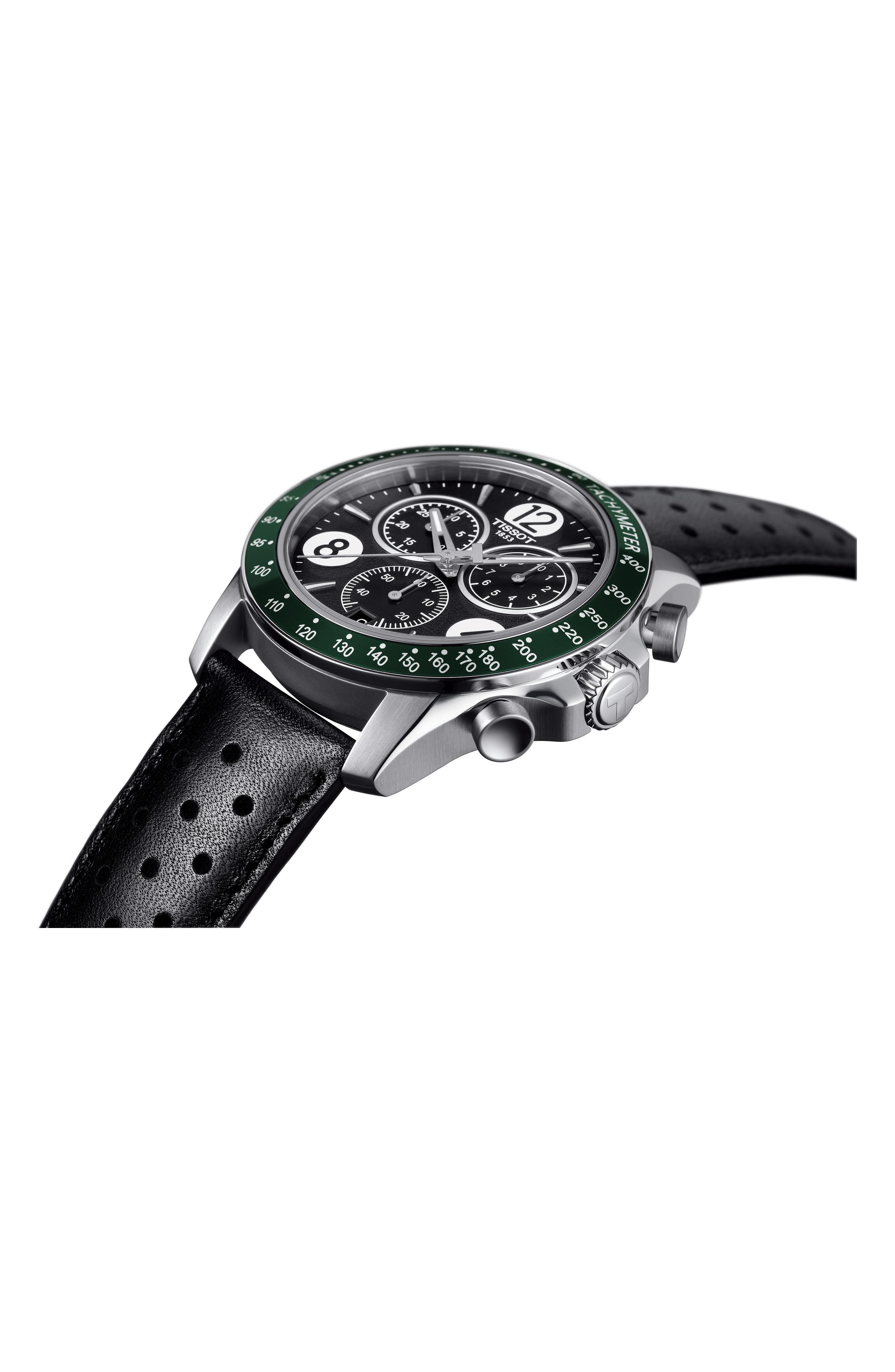 V8 Chronographic Leather Strap Watch, 43mm,                             Alternate thumbnail 3, color,                             BLACK/ GREEN/ SILVER