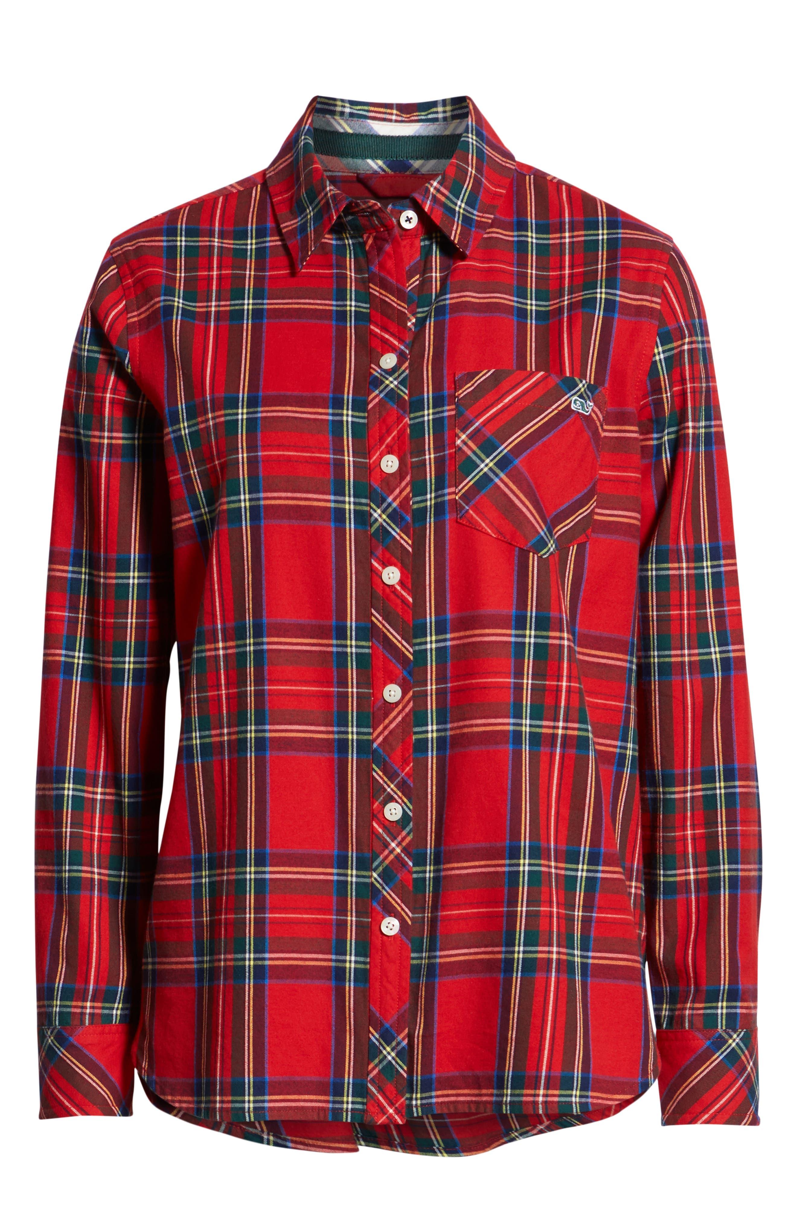 Morgan Jolly Plaid Flannel Shirt,                             Alternate thumbnail 6, color,                             600