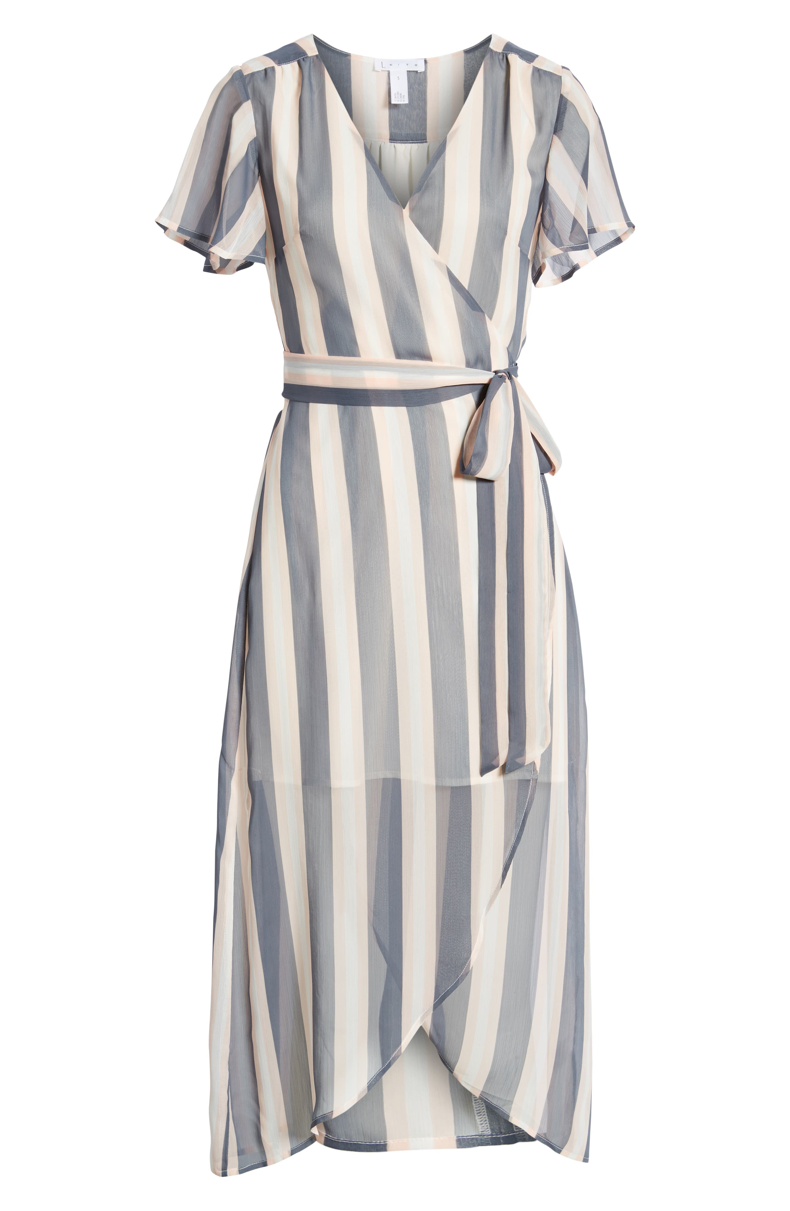 Wrap Midi Dress,                             Alternate thumbnail 7, color,                             GREY GRISAILLE FAB STRIPE