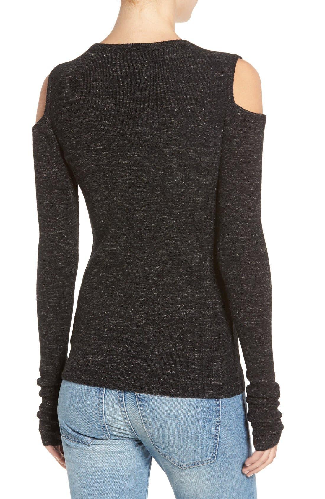 'The Mélange' Cold Shoulder Sweater,                             Alternate thumbnail 4, color,                             001