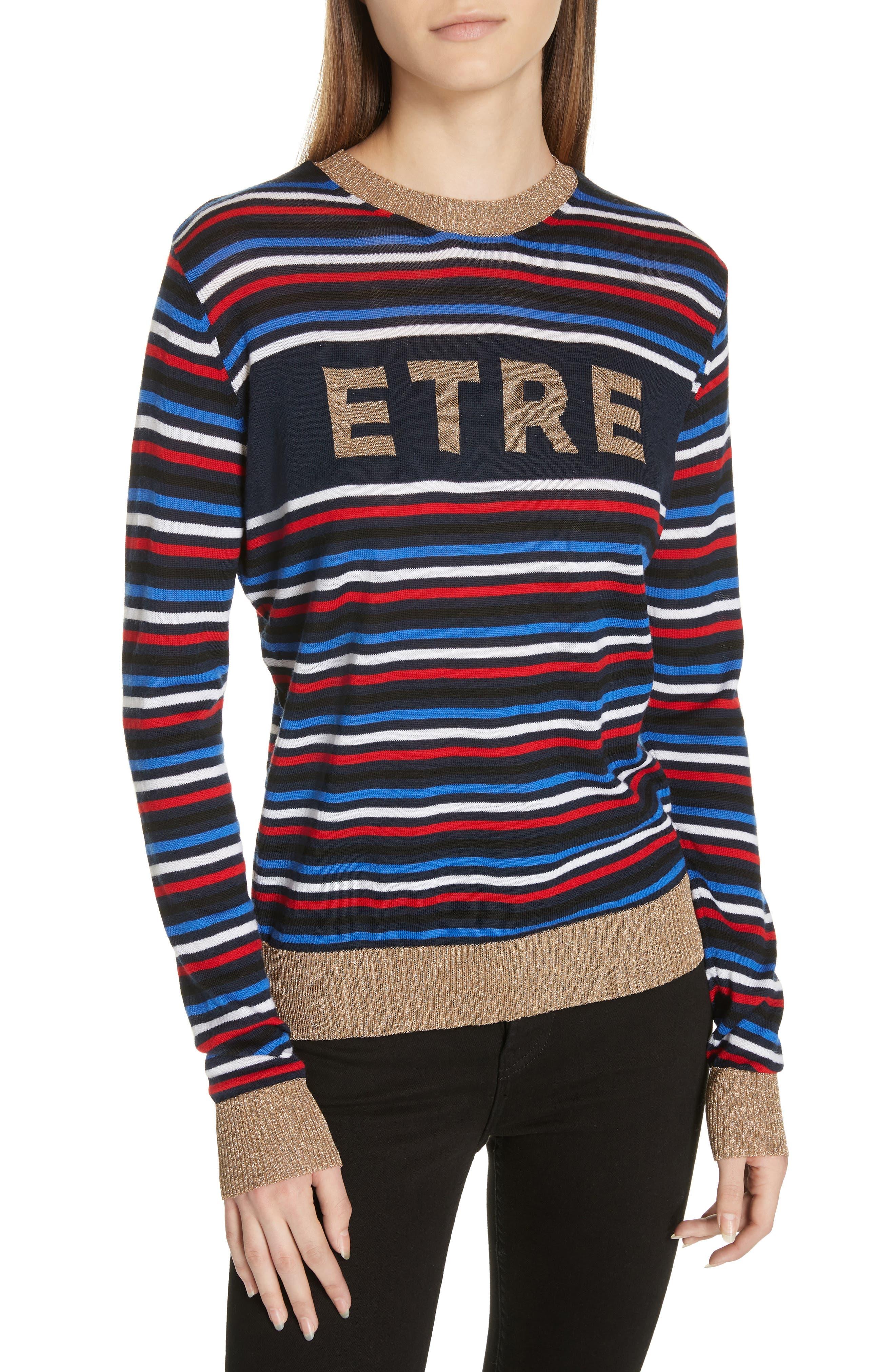 Stripe Knit Boyfriend Sweater,                         Main,                         color, NAVY MULTI STRIPE