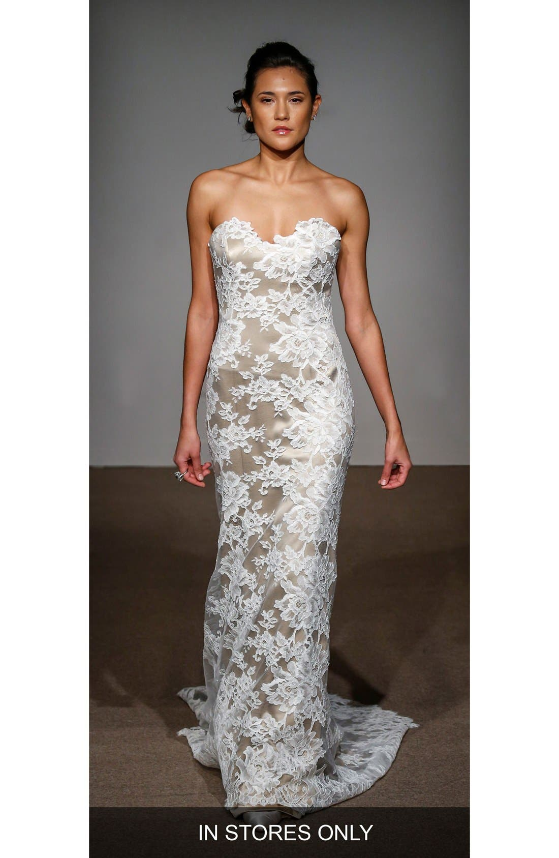 Collette Strapless Silk & French Lace Gown,                             Main thumbnail 1, color,                             SOFT WHITE/NUDE