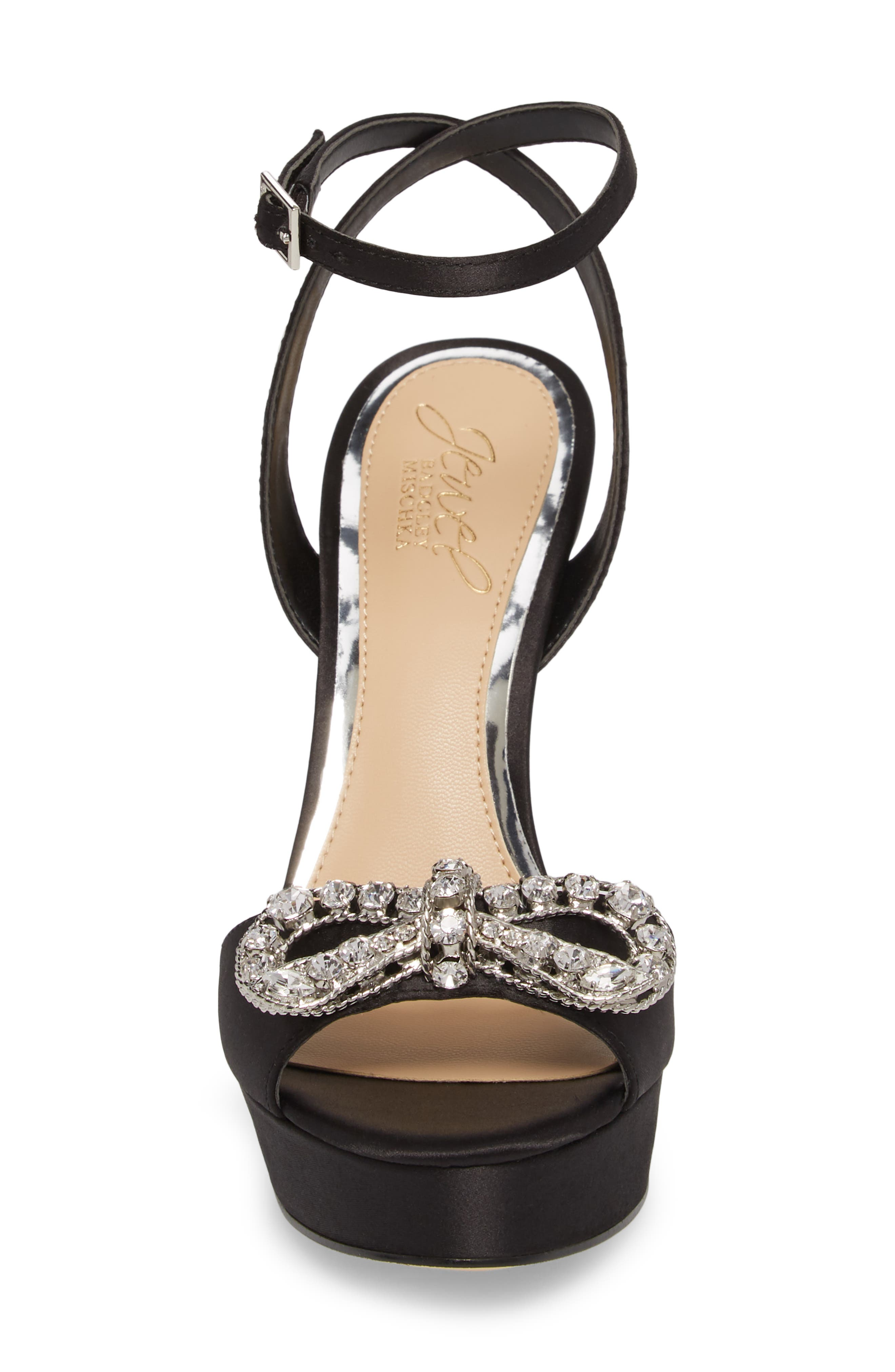 Mildred Crystal Bow Platform Sandal,                             Alternate thumbnail 4, color,                             BLACK SATIN
